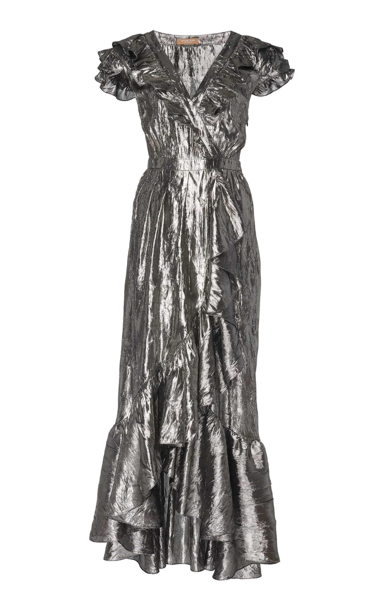 193ecc3bd4b80 Ruffled Metallic SIlk-Blend Wrap Dress by Michael Kors Collection ...