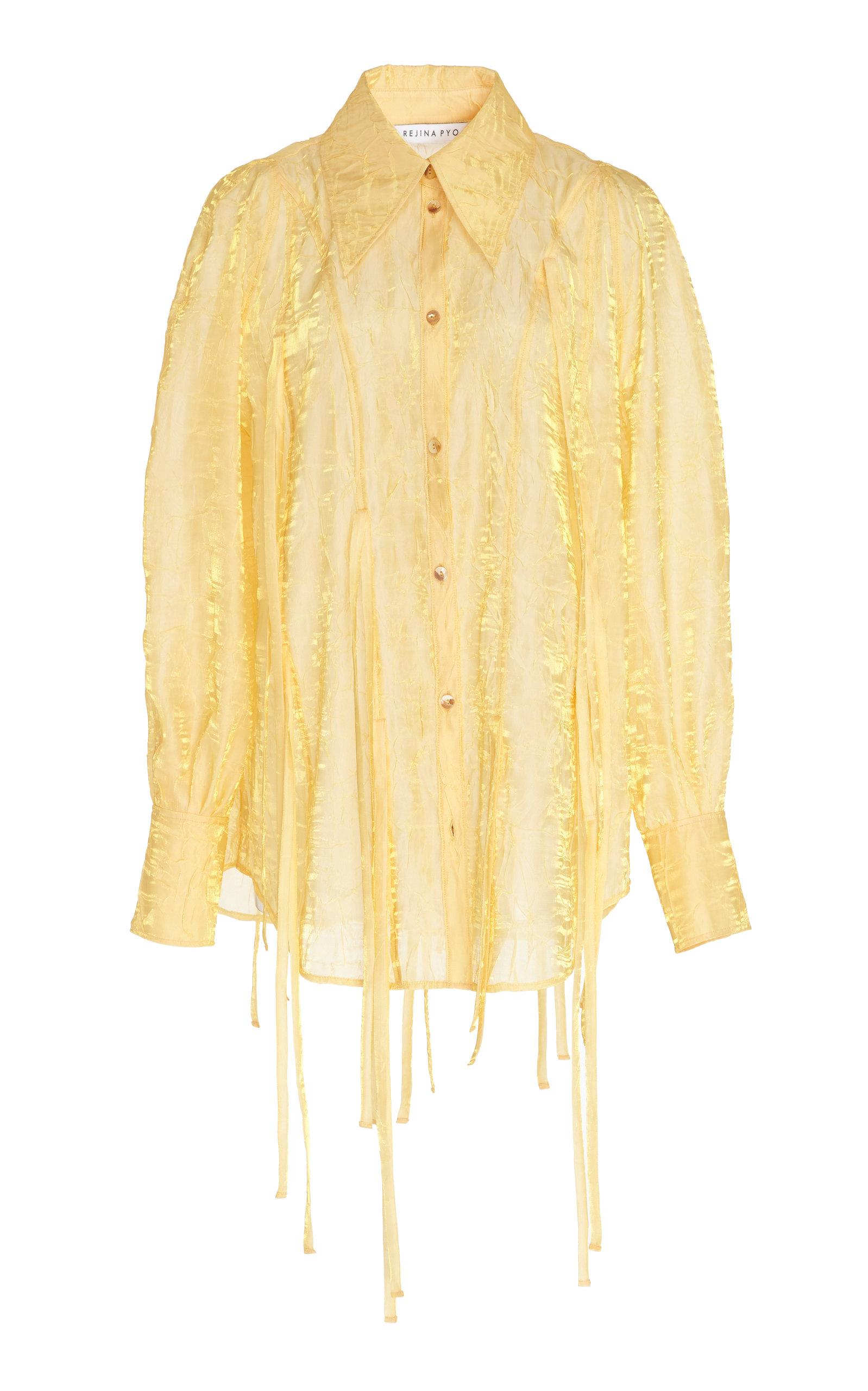 Rejina Pyo T-shirts LANA COLLARED TIE-DETAILED COTTON SHIRT