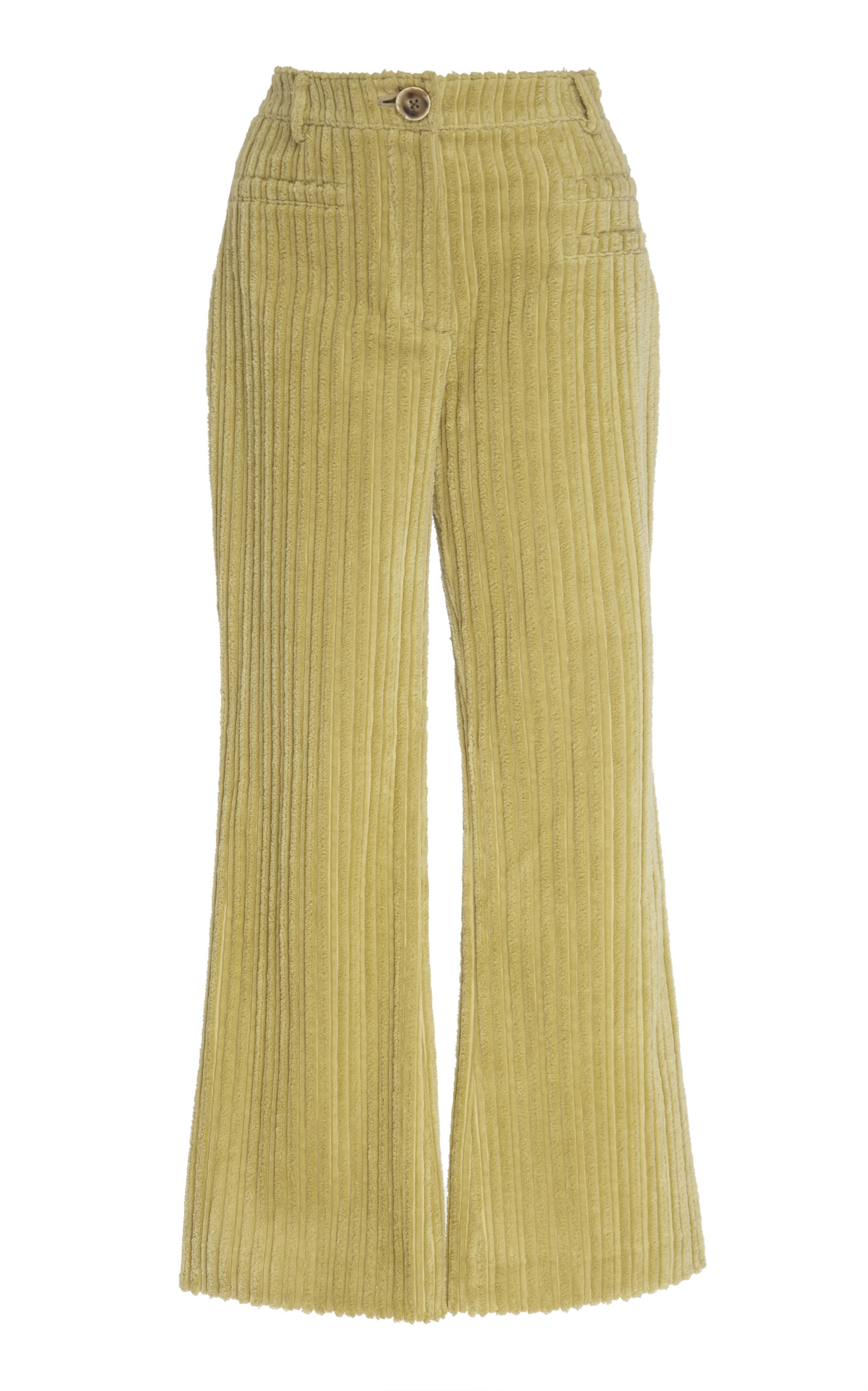 Rejina Pyo Pants MAEVE HIGH-RISE CORDUROY FLARED-LEG CROPPED TROUSERS