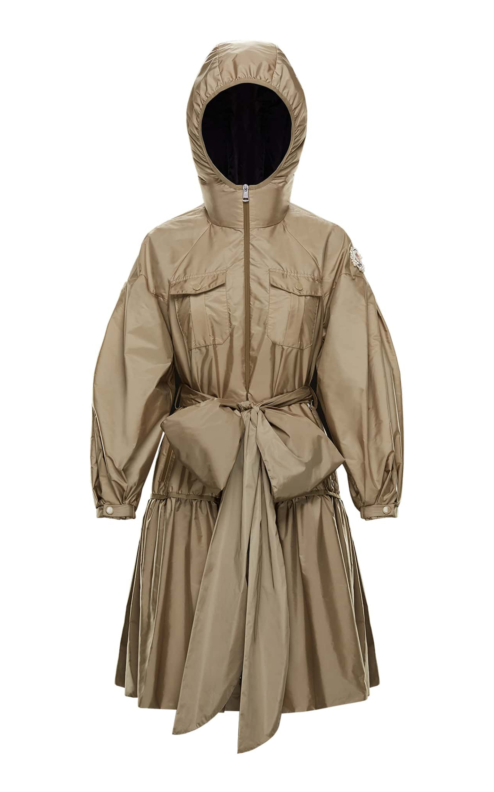 newest b9302 75477 Bow-Detailed Shell Hooded Coat