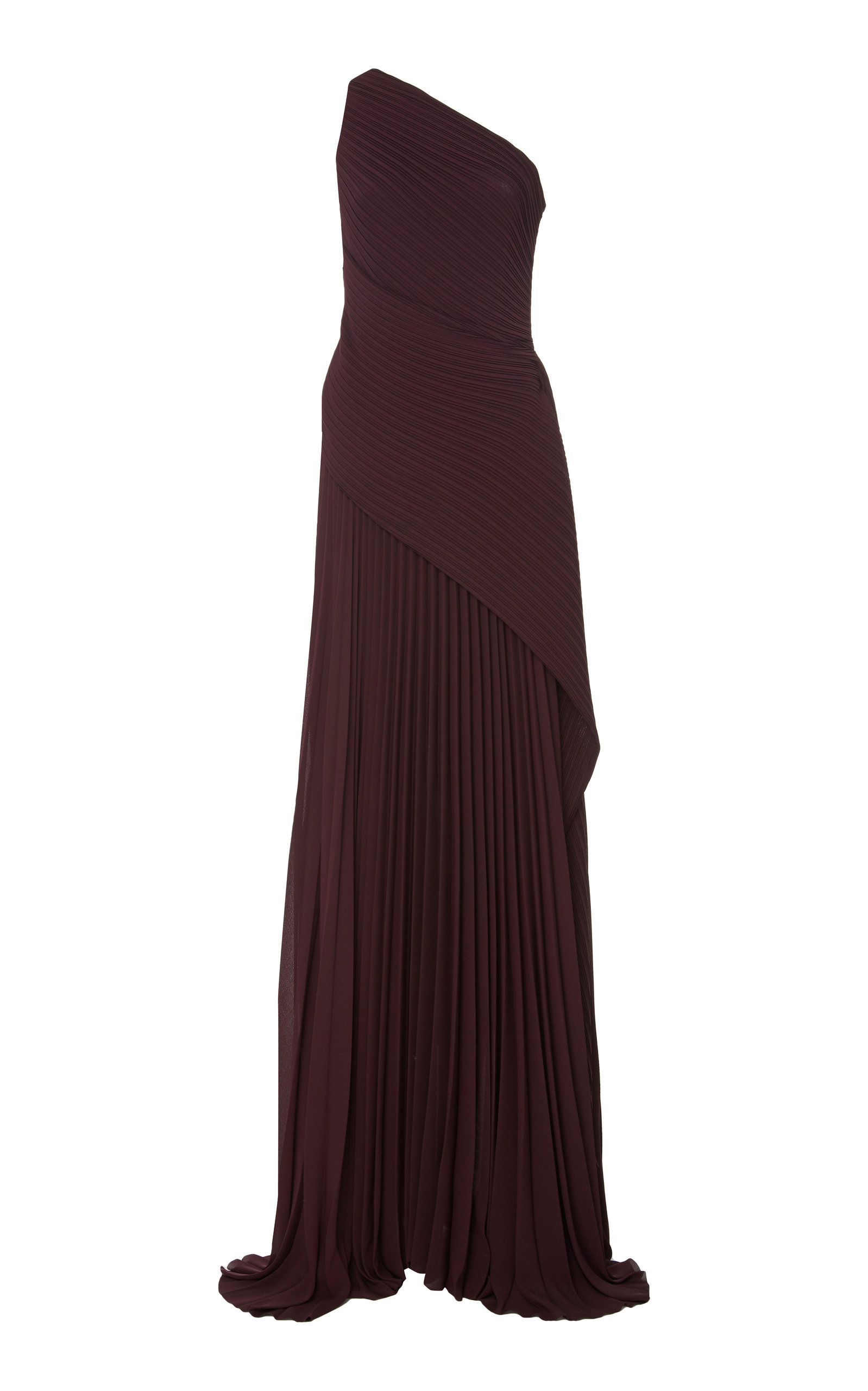 Solace London Tops EMELYNE PLEATED ASYMMETRIC CREPE GOWN