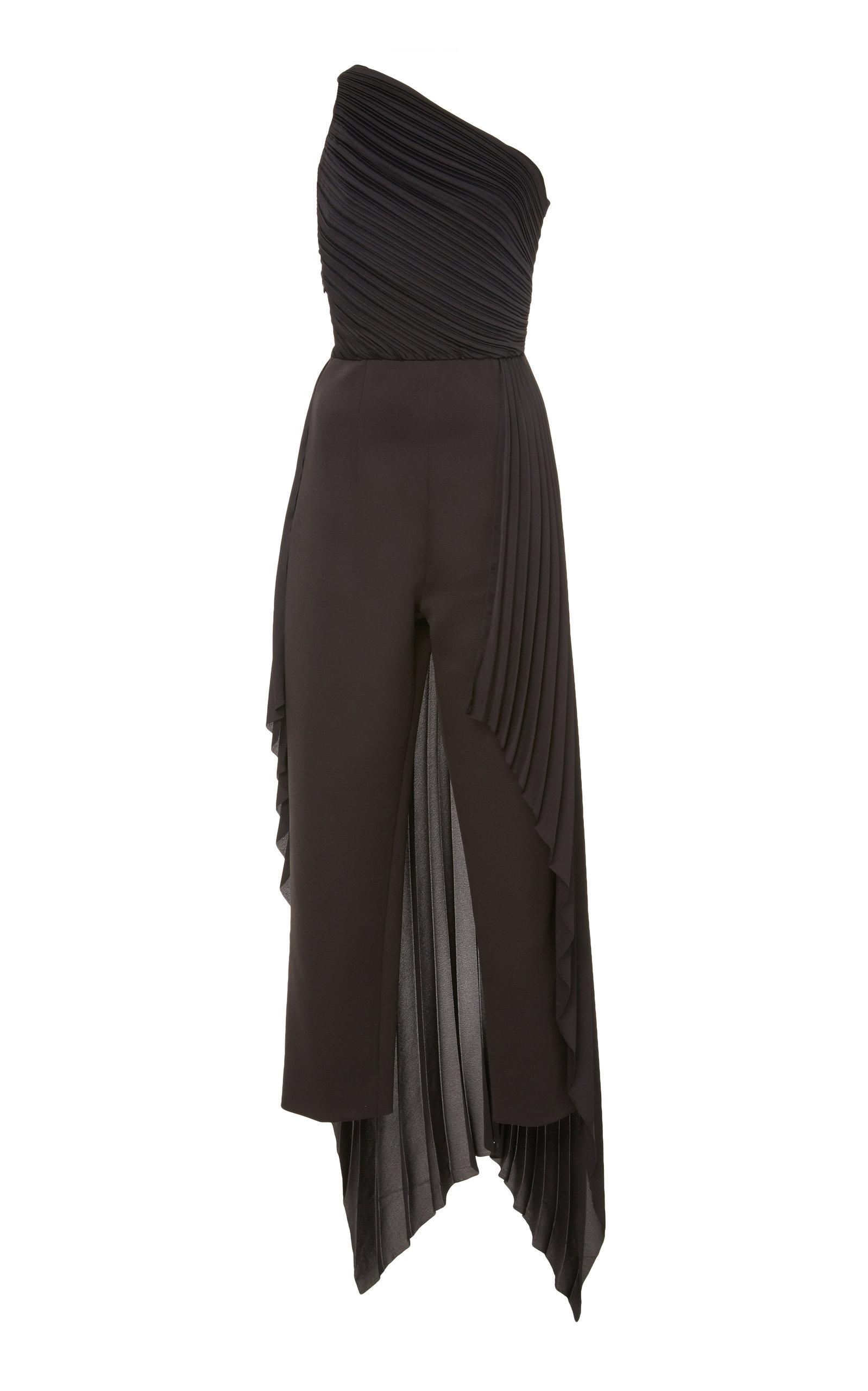 Solace London Suits WINNE PLEATED CREPE STRAIGHT-LEG JUMPSUIT