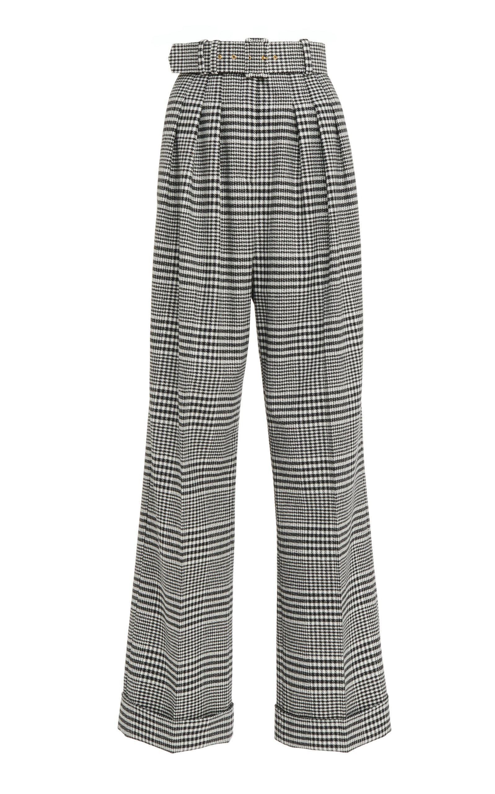 Emilia Wickstead Francis Belted Checked Wool Wide-Leg Pants