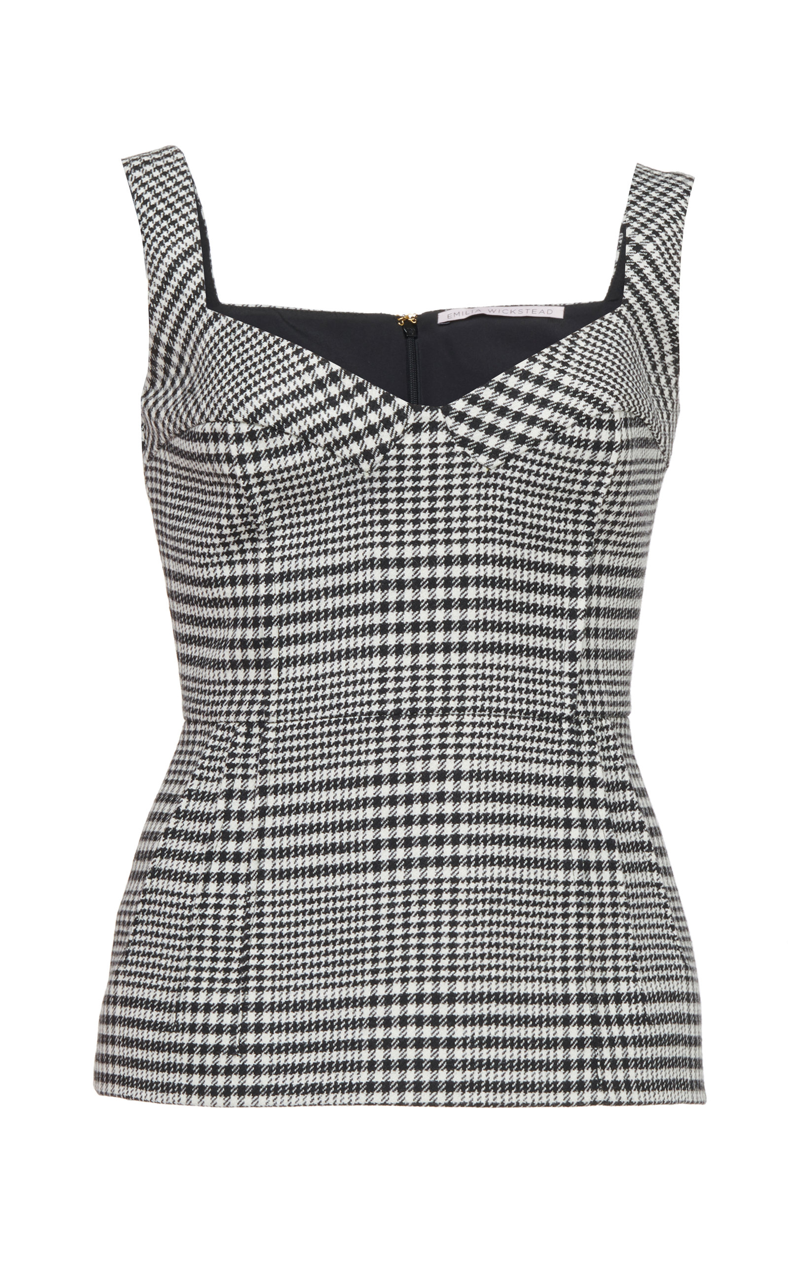Emilia Wickstead JUDY CHECKED STRETCH-CREPE BUSTER TOP SIZE: 10