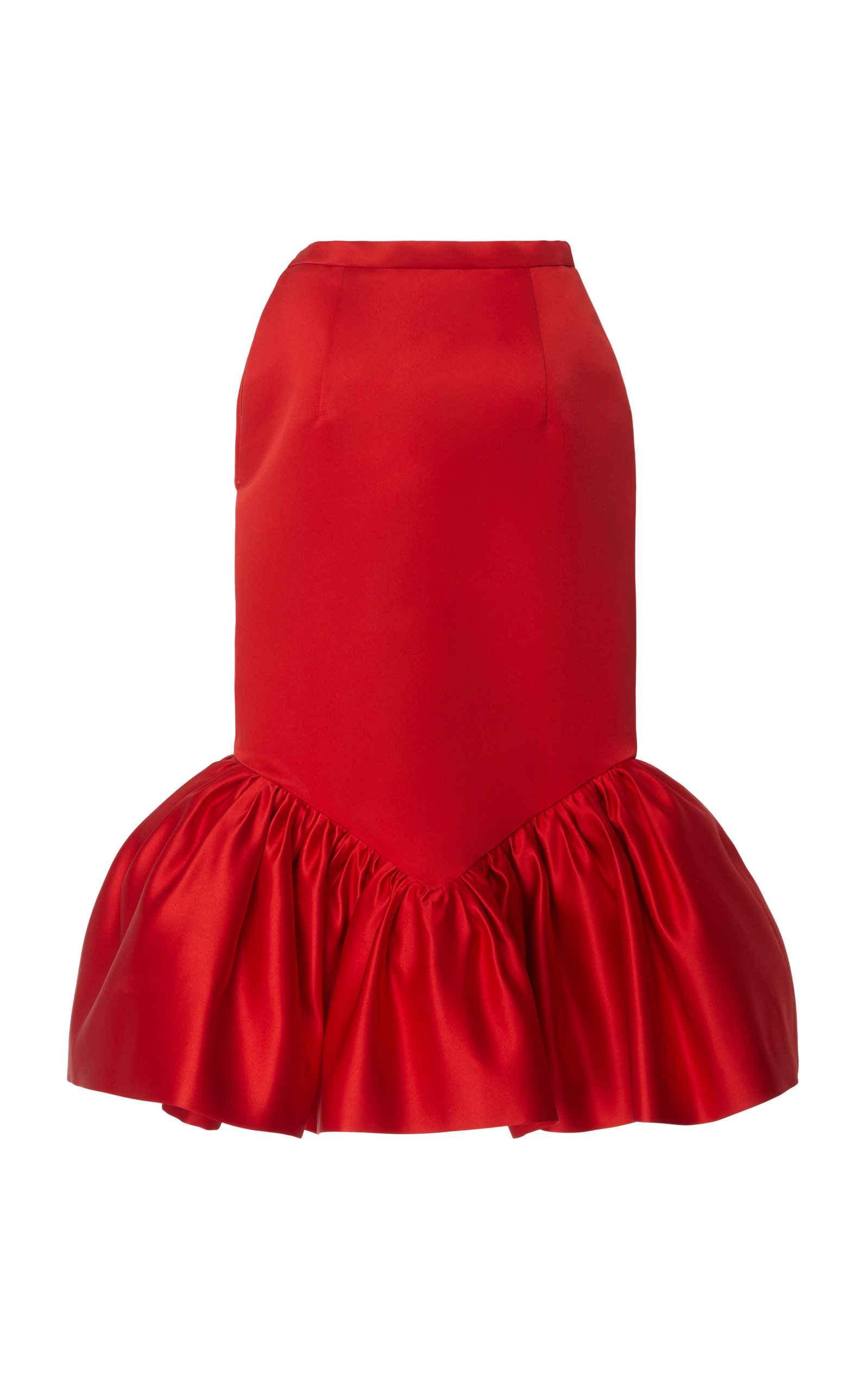 Christopher Kane Skirts Cupcake Hem Satin Midi Skirt