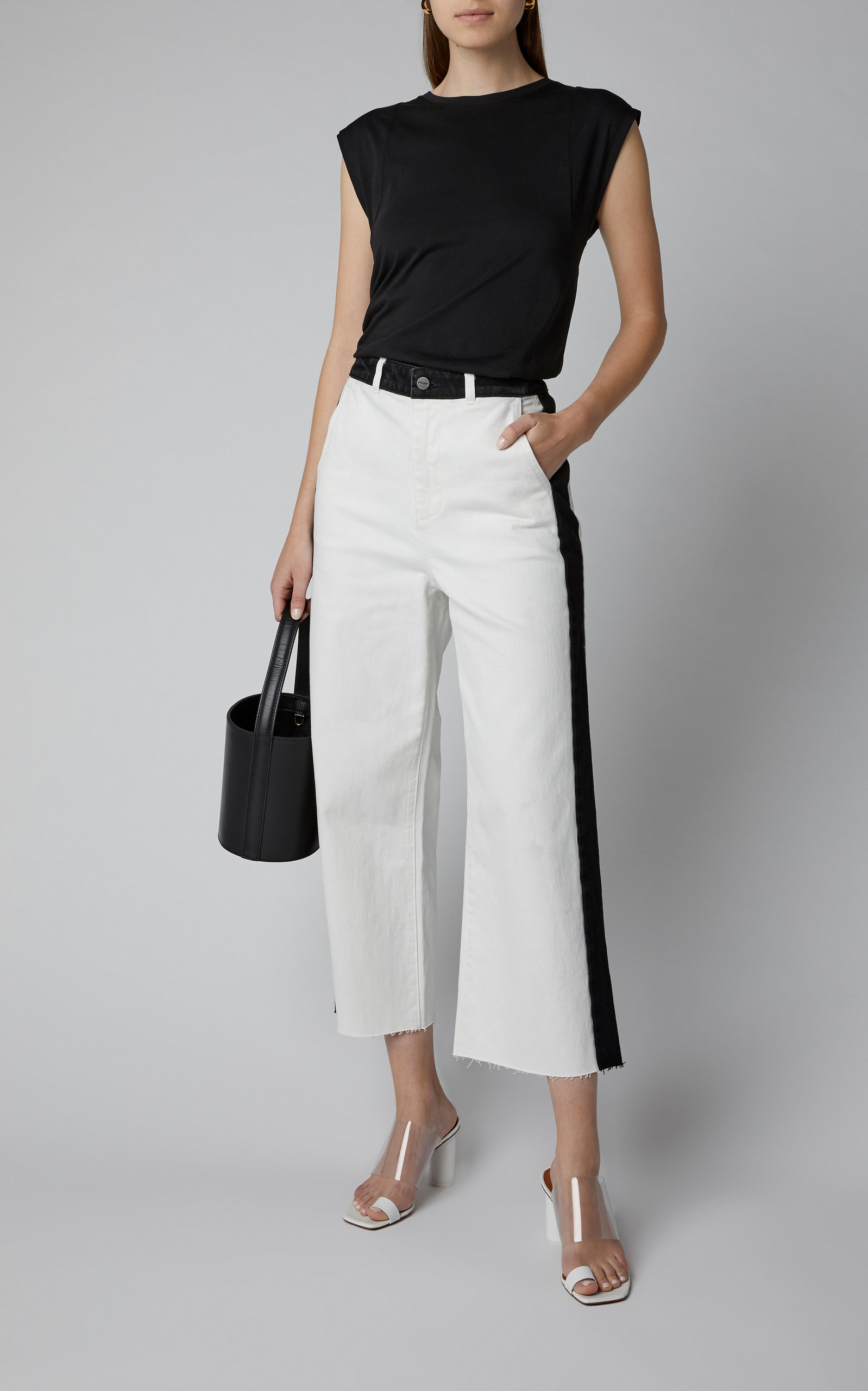 Cropped Two Tone Wide Leg Jeans by Frame