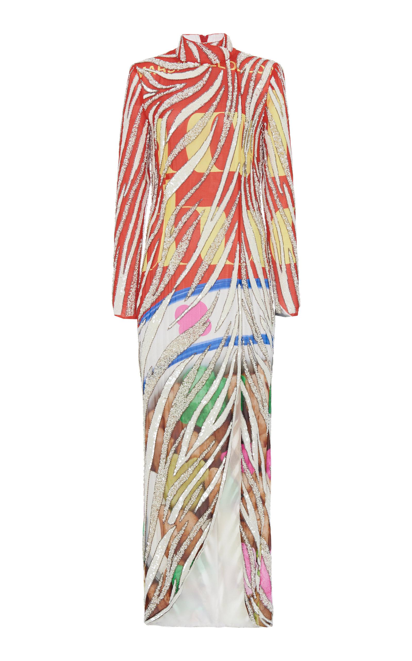 0e756ccb84 Embellished Printed Jersey-Satin Dress by Moschino   Moda Operandi