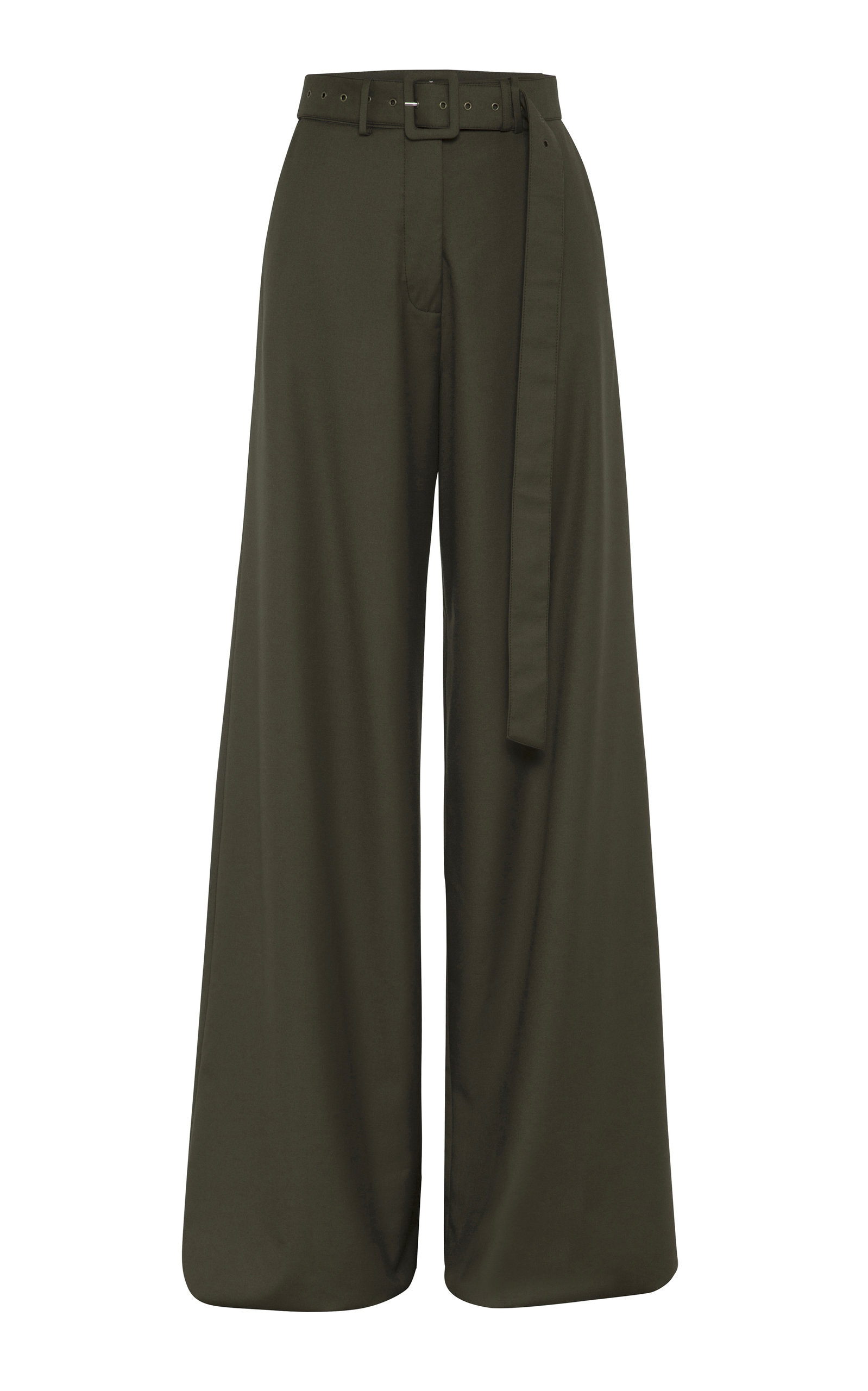 Anna Quan Max Belted Crepe Wide-Leg Pants