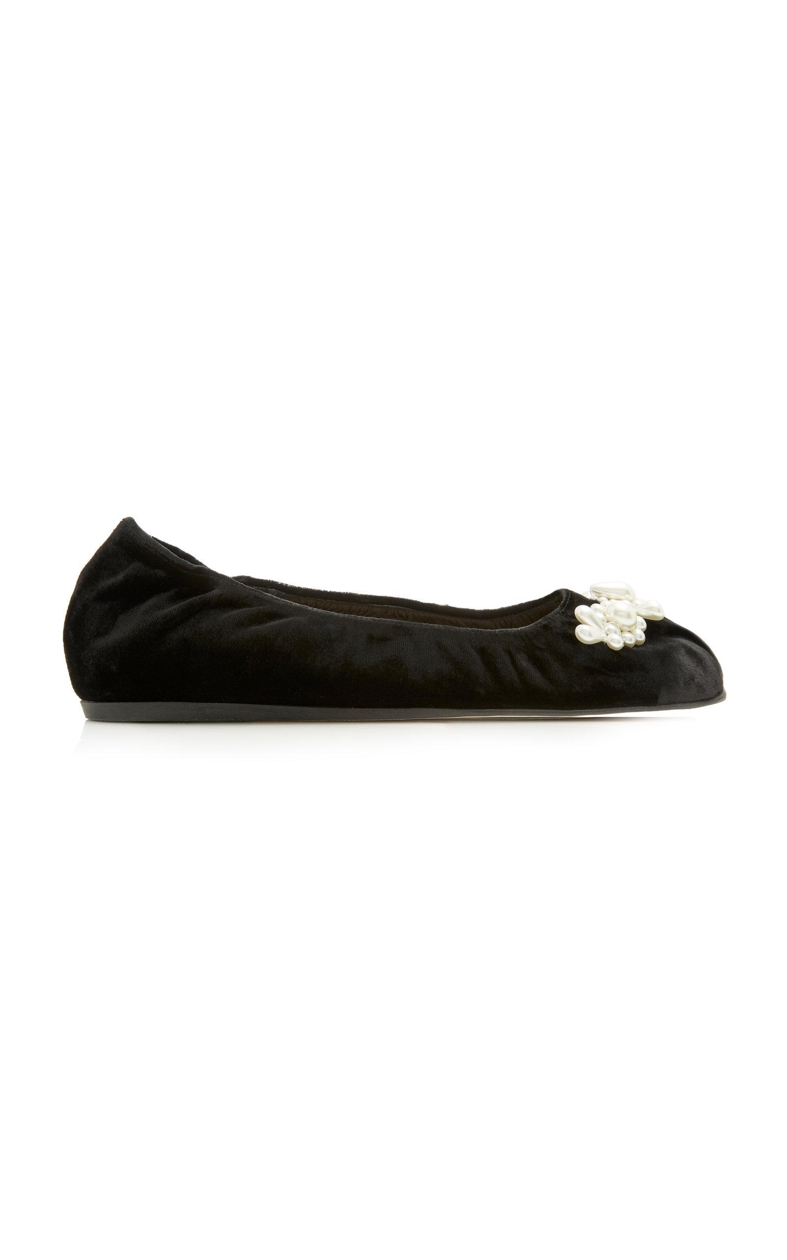 Simone Rocha Flats Embellished Velvet Ballet Flats