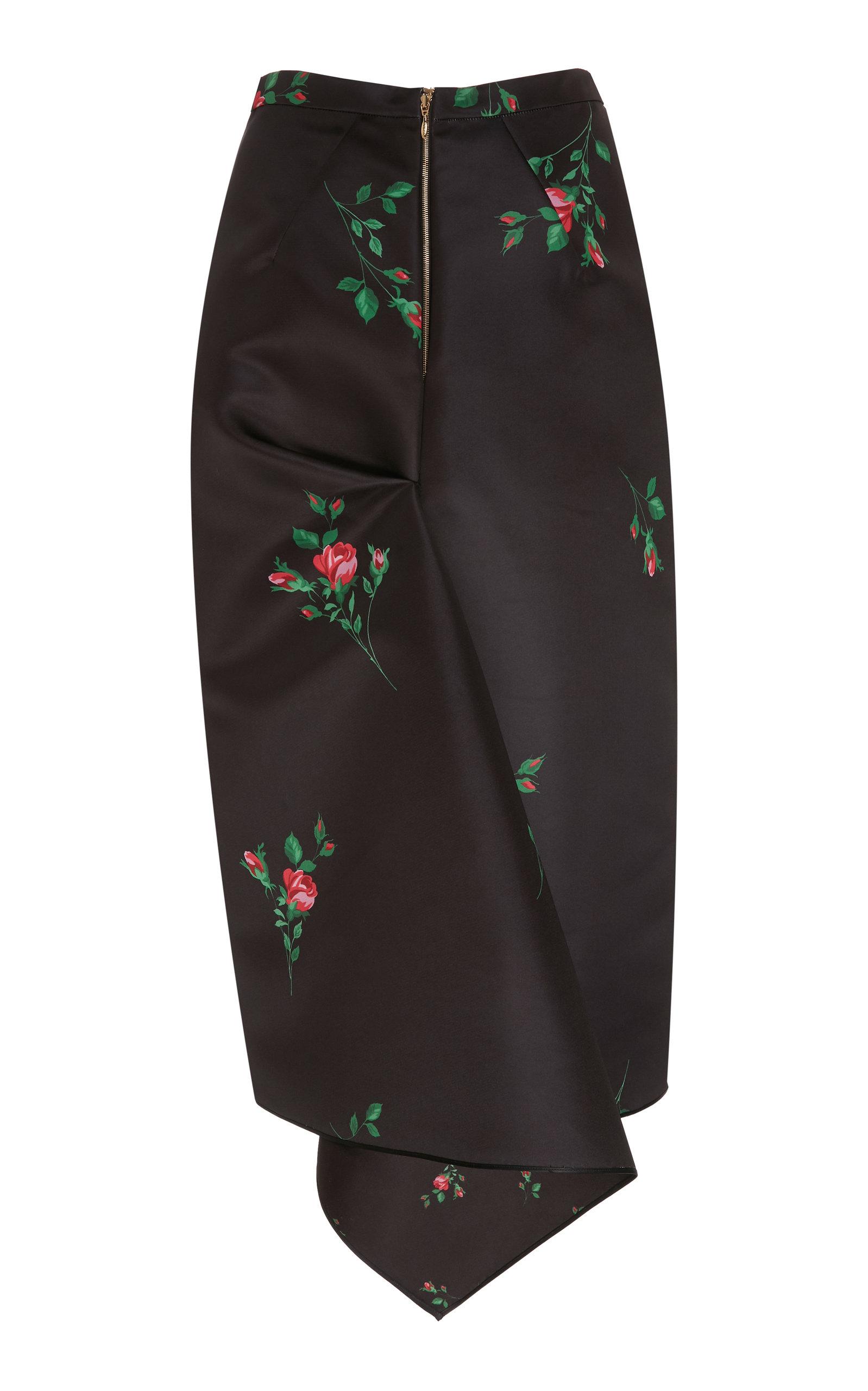 d6b63f2db9d263 Floral-Print Duchess-Satin Midi Pencil Skirt by Rochas | Moda Operandi