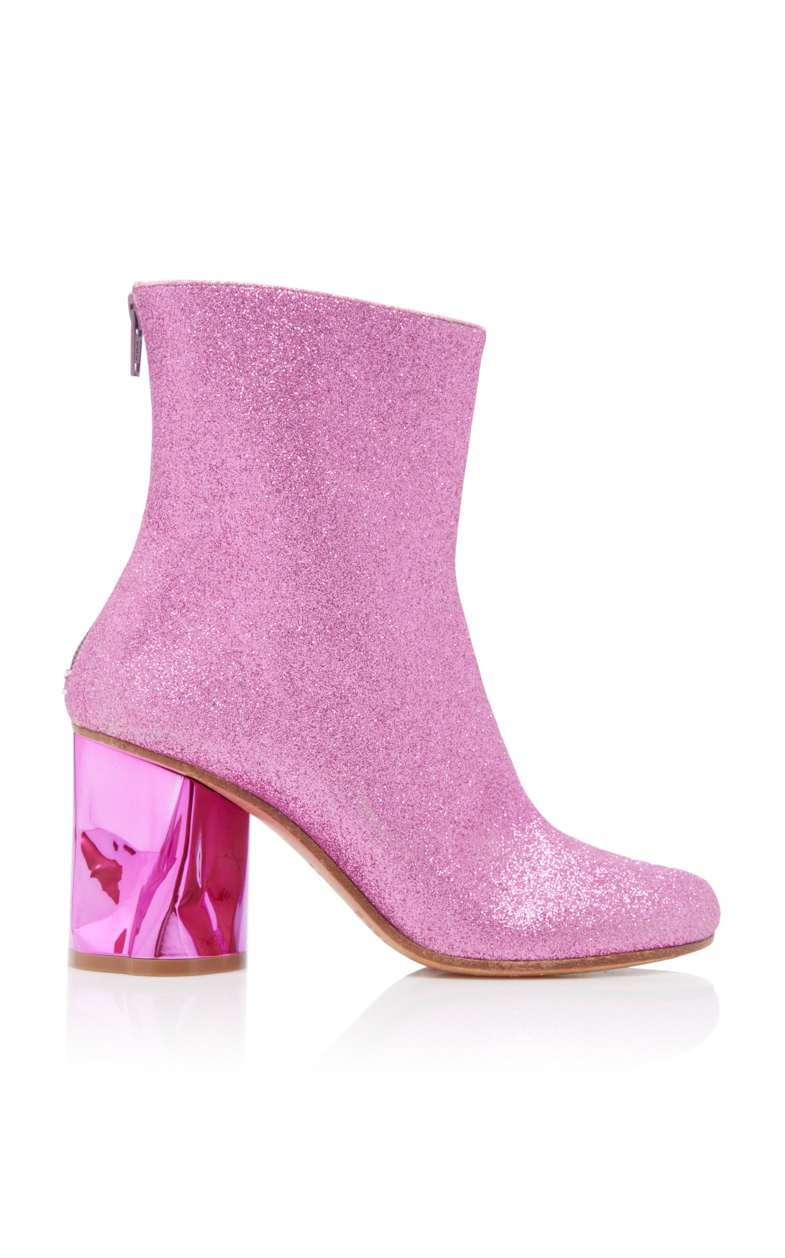 Maison Margiela Tabi Glitter Ankle Boots In Pink Modesens