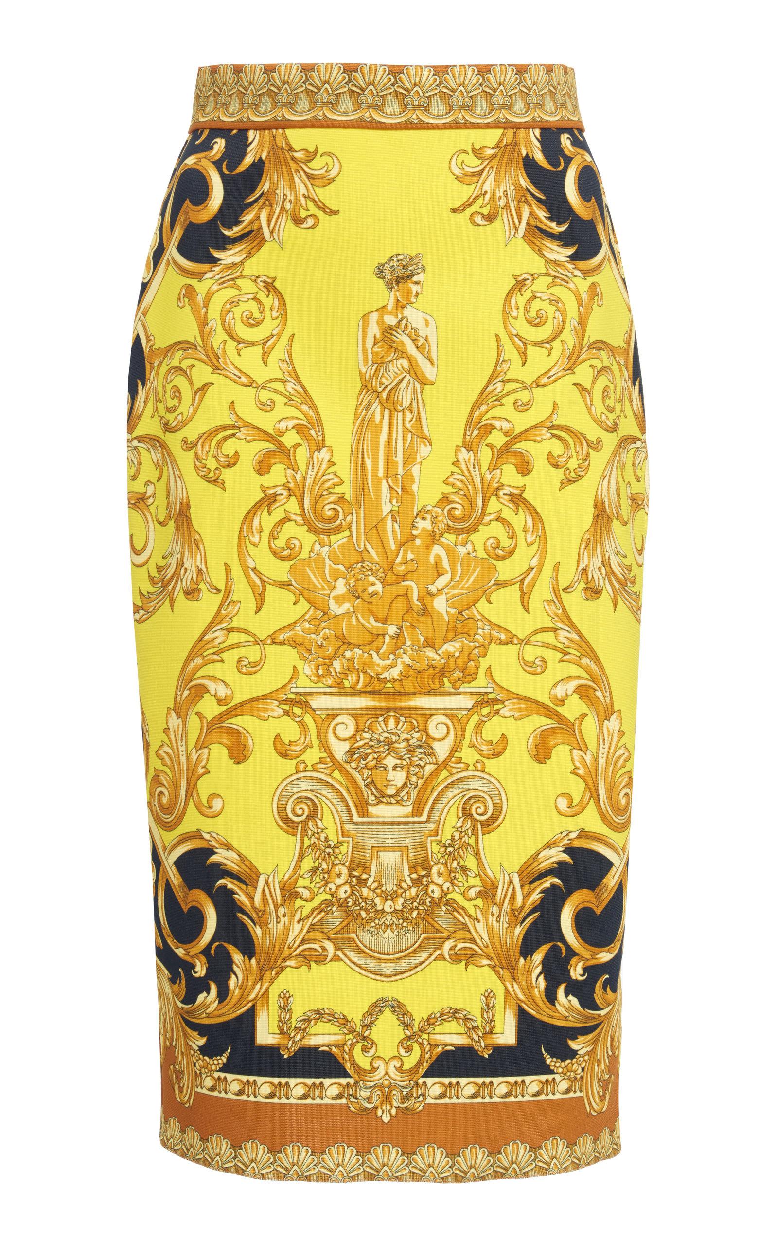 e912314ffd Baroque Printed Satin Pencil Skirt by Versace | Moda Operandi