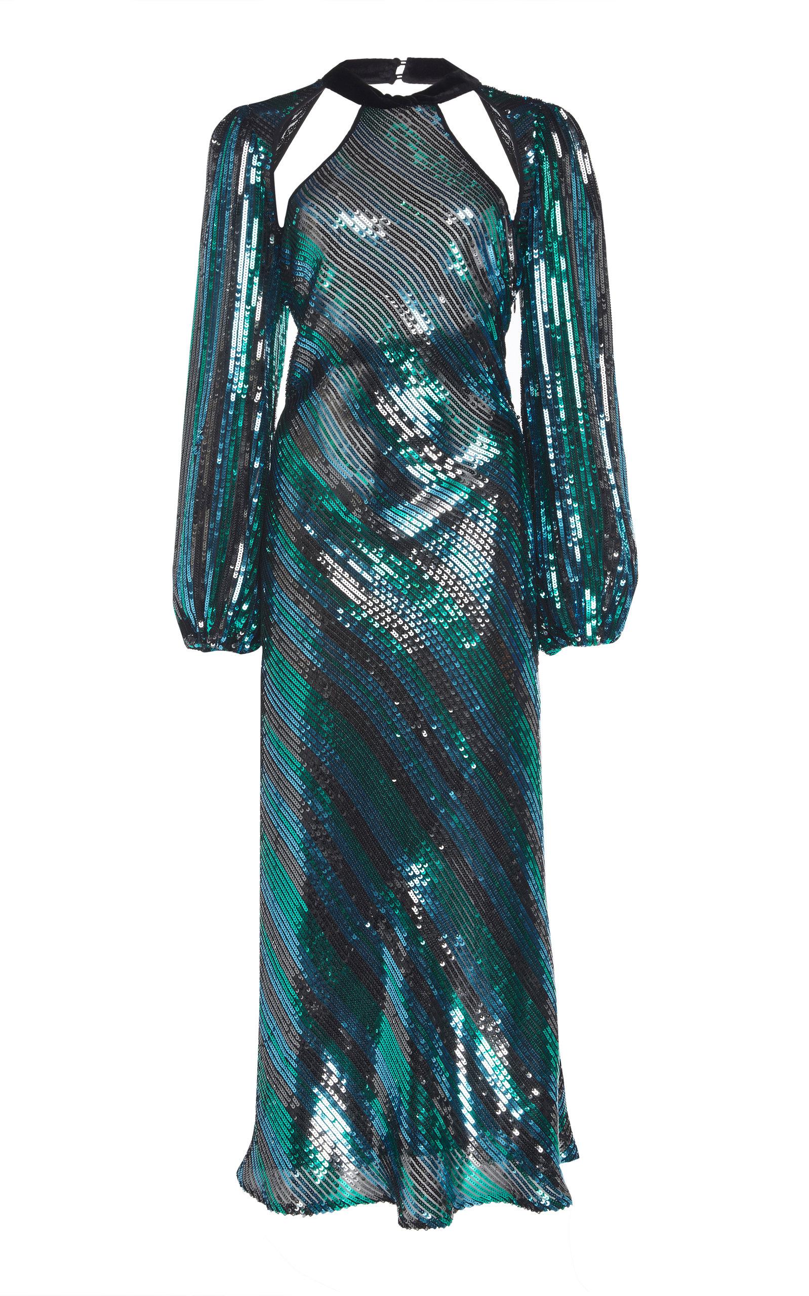 Rixo London CELIA CUTOUT SEQUINED CHIFFON MAXI DRESS SIZE: L