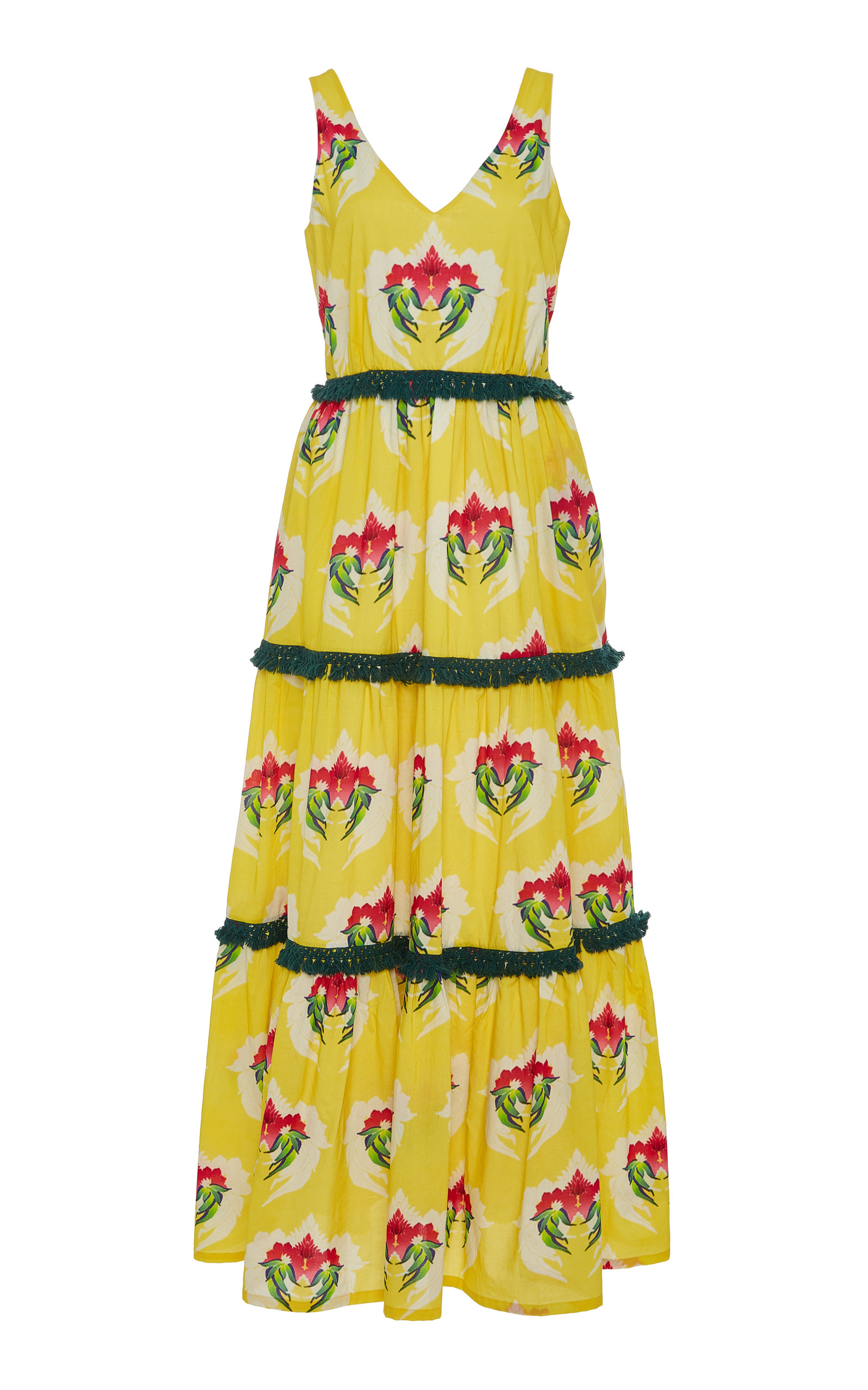 Printed Tasseled Modal Blend Maxi Dress by Verandah