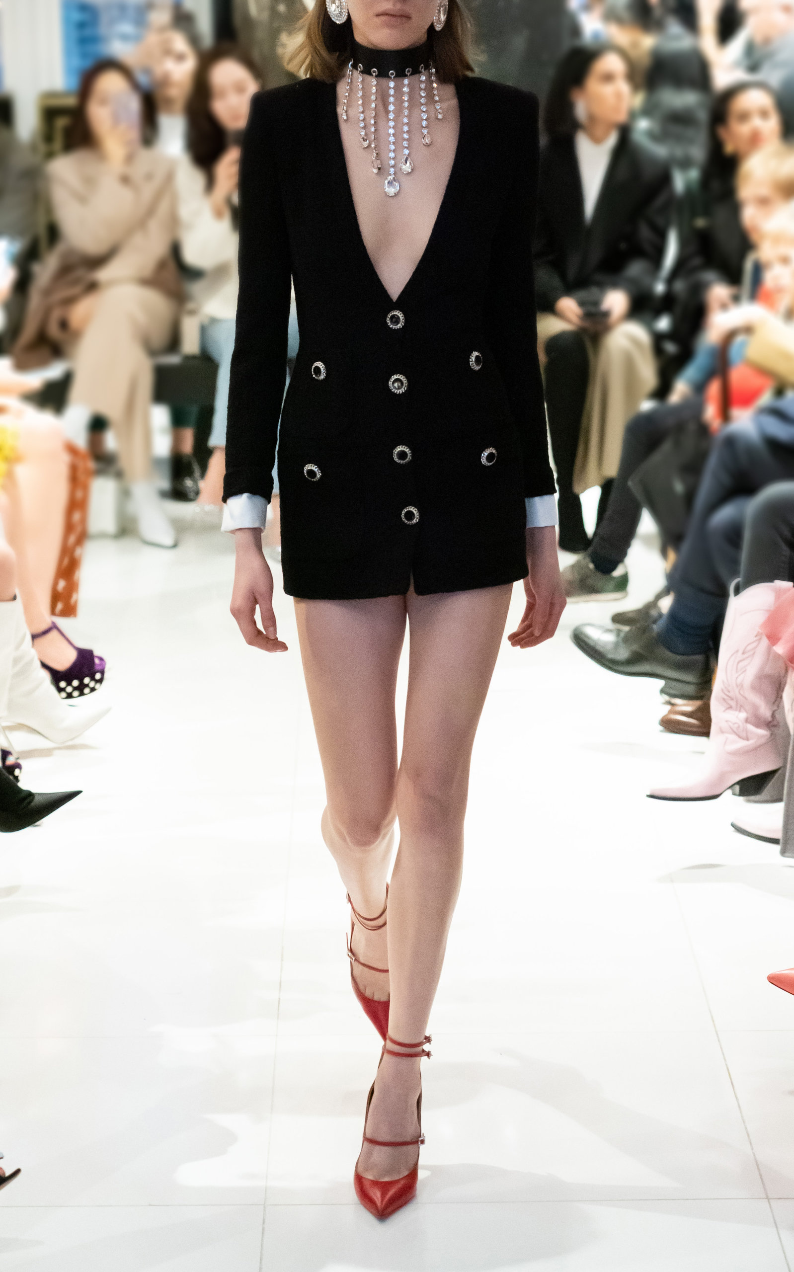 Alessandra Rich Dresses Wool-Blend V-Neck Tweed Mini Dress