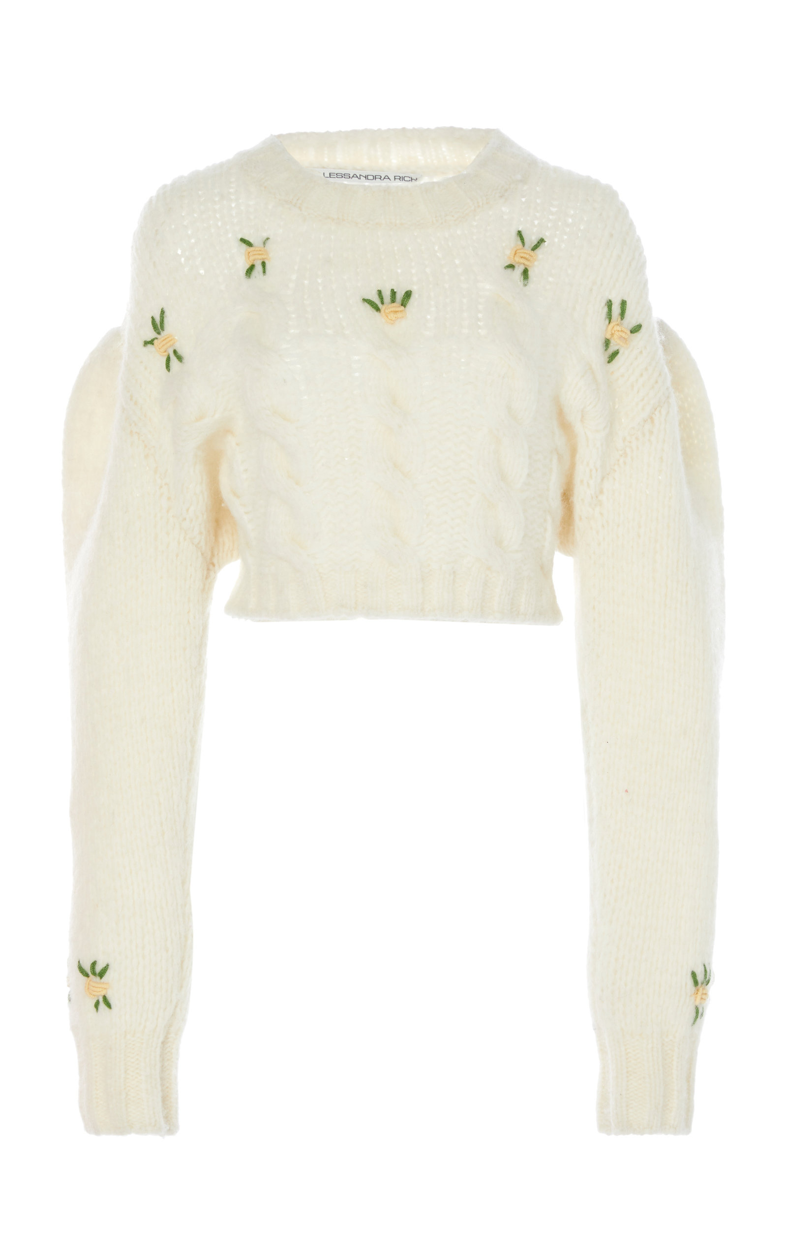 Alessandra Rich Sweaters Floral-Embroidered Alpaca and Wool-Blend Sweater