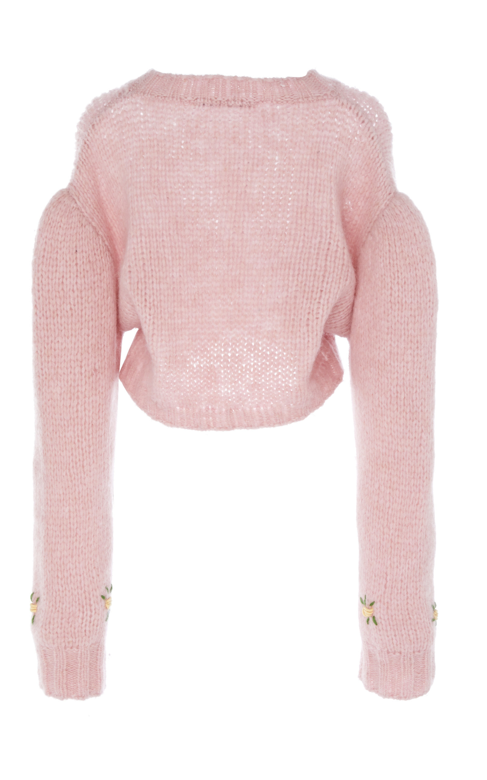 Alessandra Rich Sweaters Cropped Floral-Embroidered Alpaca and Wool-Blend Sweater