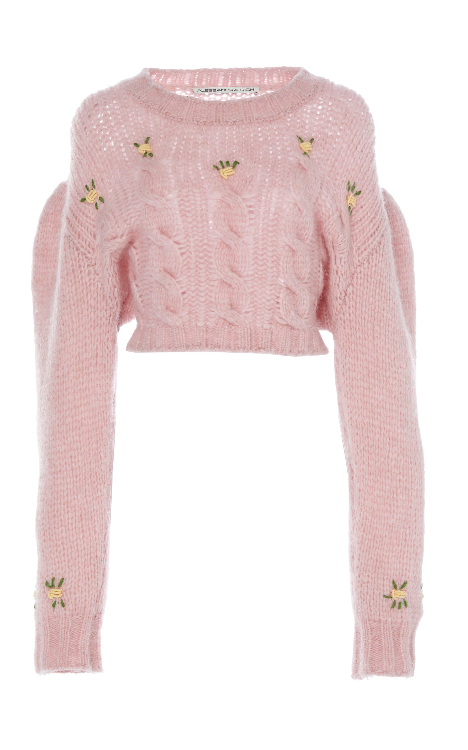 Alessandra Rich Tops CROPPED FLORAL-EMBROIDERED ALPACA AND WOOL-BLEND SWEAT