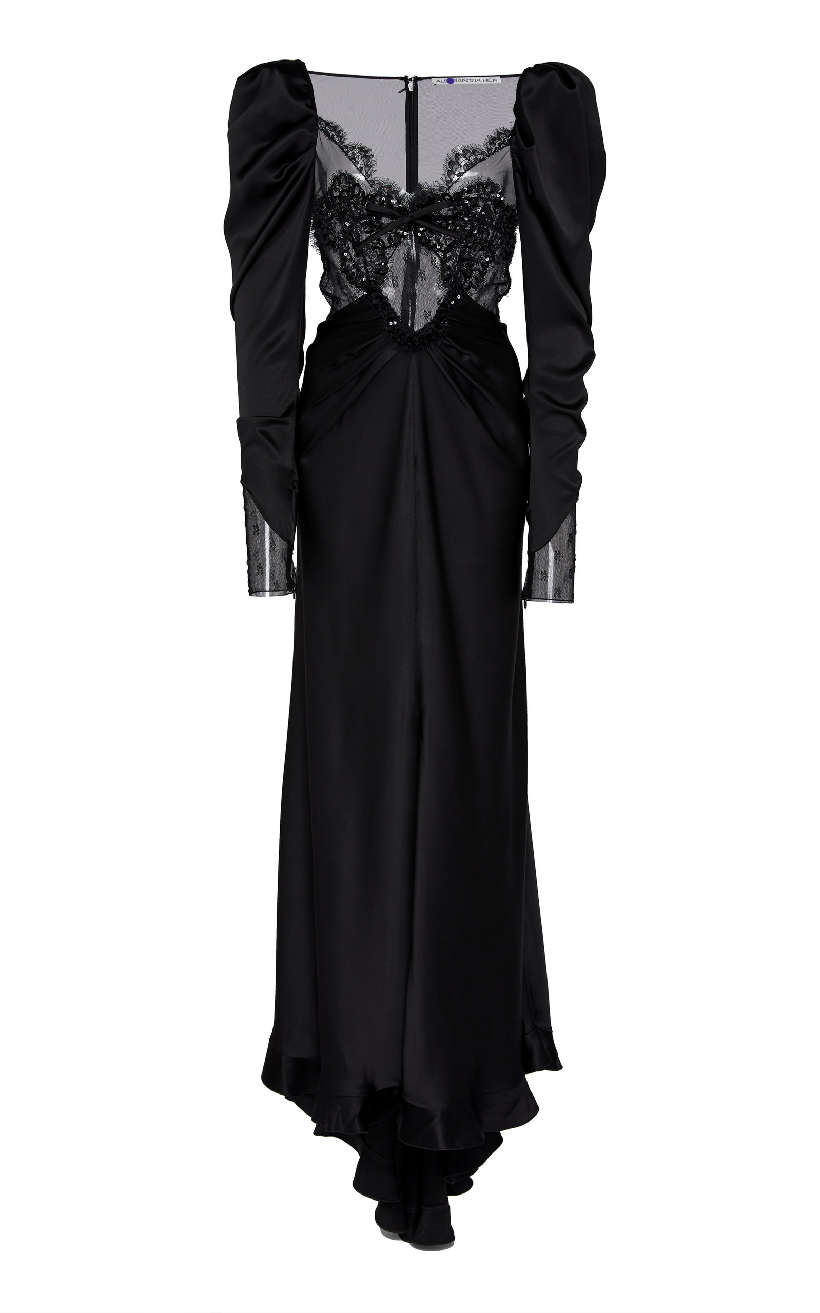 Alessandra Rich Tops LACE INTARSIA SILK SATIN GOWN