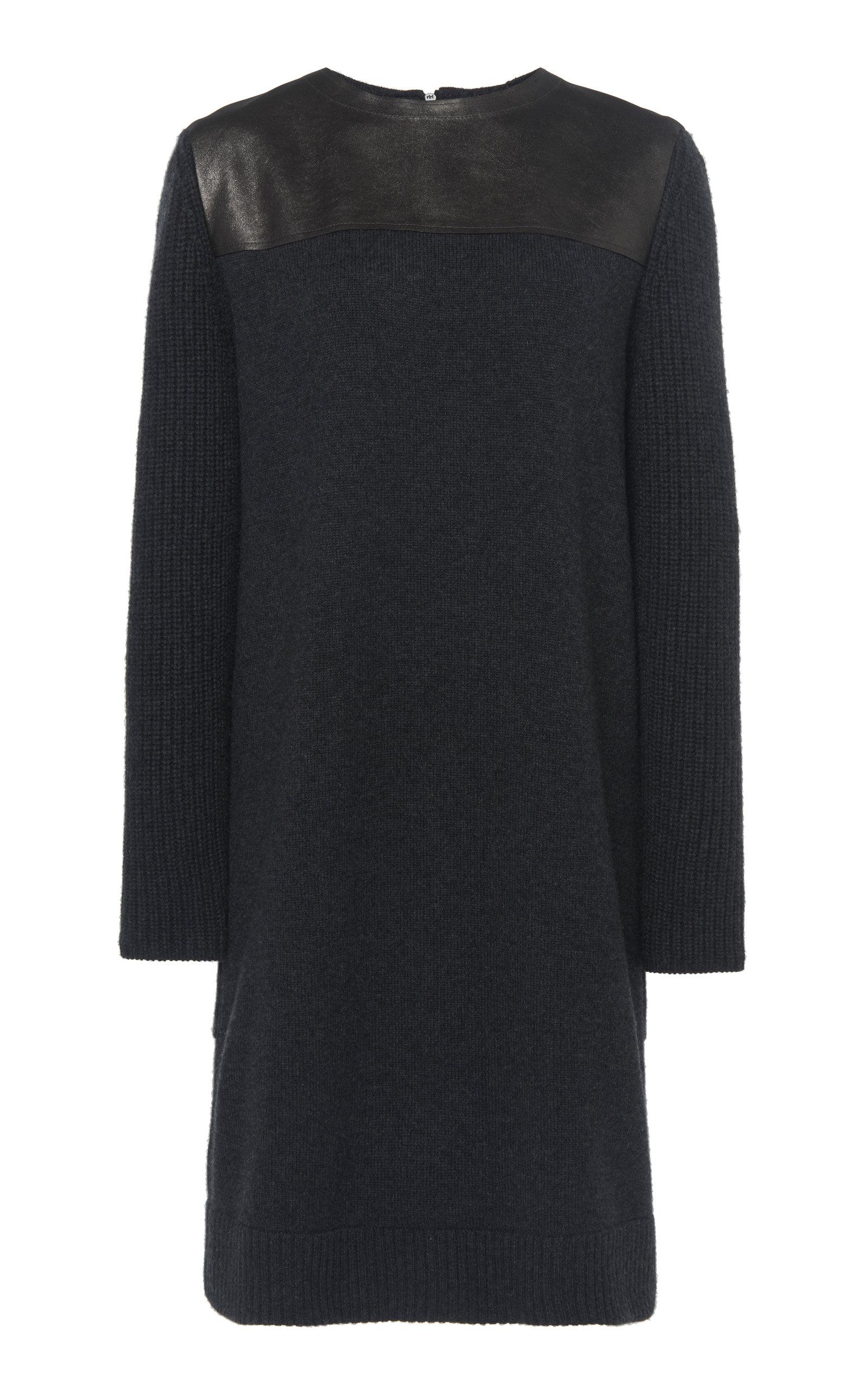 3b1a4a8b06f47 Leather-Trimmed Cashmere Knit Dress by Akris | Moda Operandi