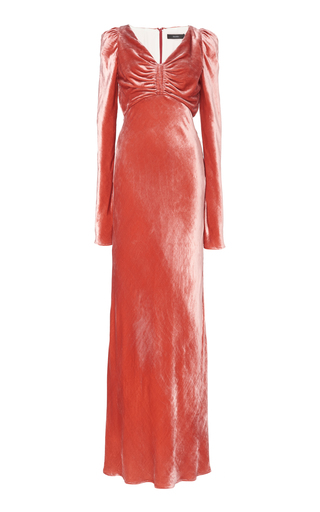 Ellery RUCHED CRUSHED VELVET MAXI DRESS