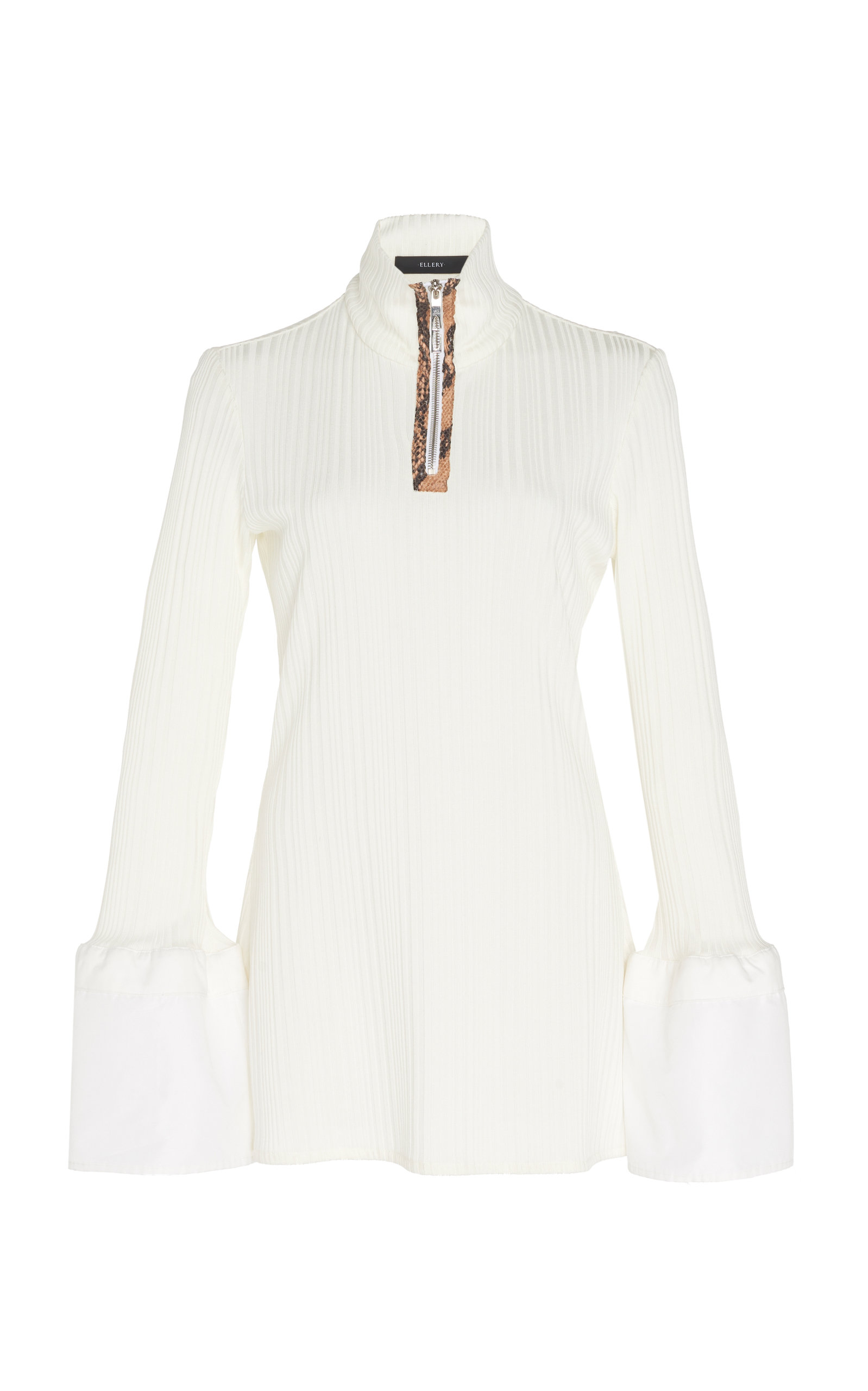 Ellery Knits Arcade Zip-Detailed Ribbed Knit Top