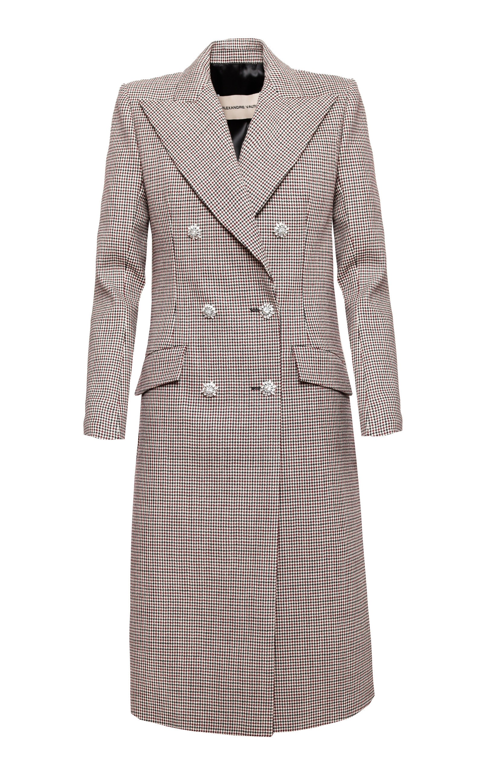 Alexandre Vauthier Coats Double Breasted Plaid Wool Coat