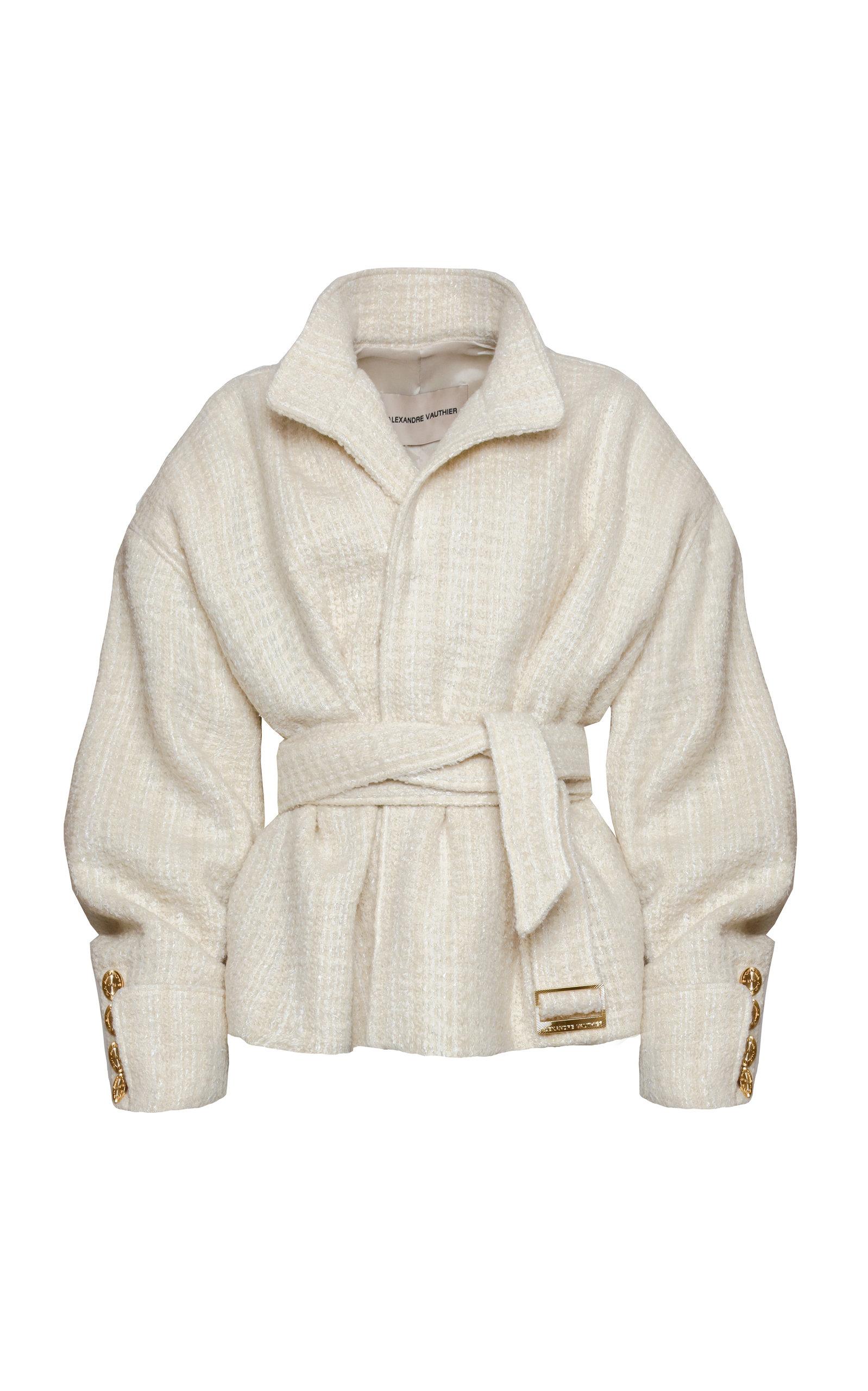 Alexandre Vauthier Coats Tweed Wool-Blend Belted Coat