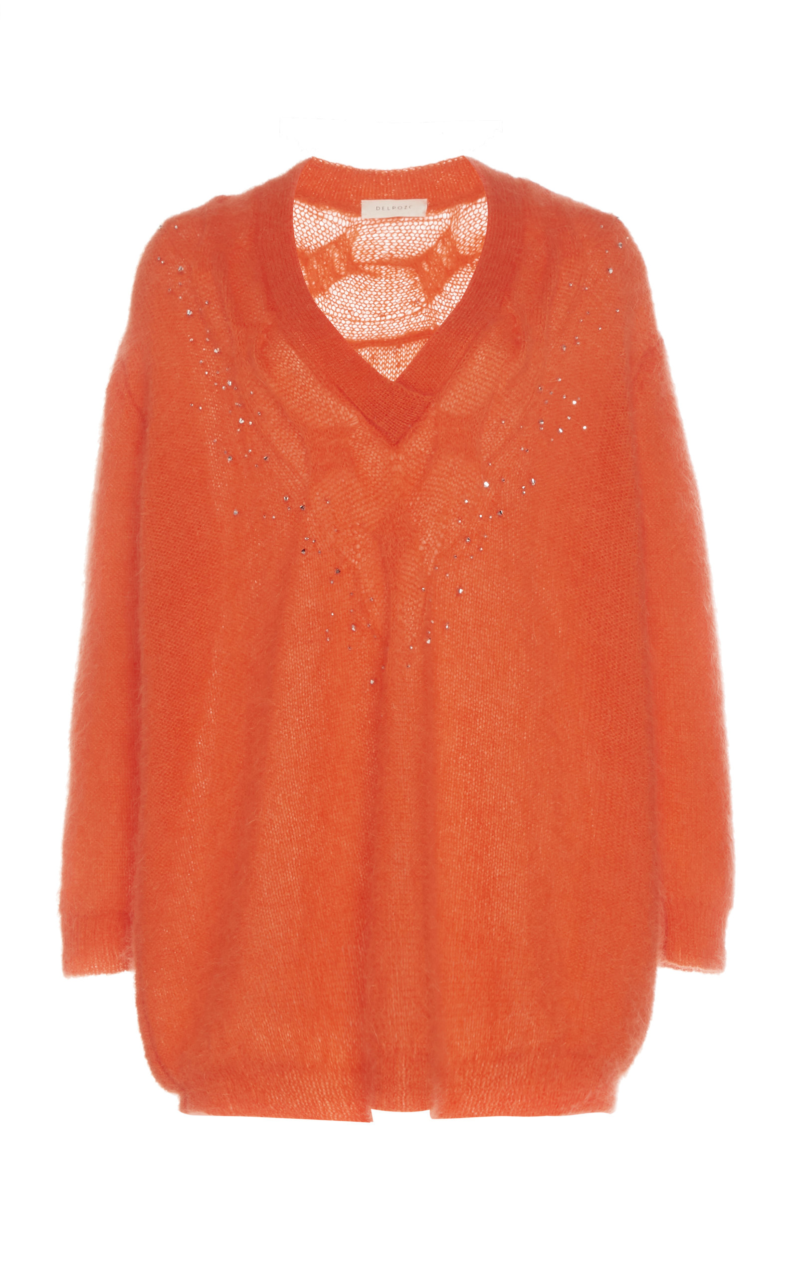 Delpozo Sweaters Embellished Mohair-Blend Sweater
