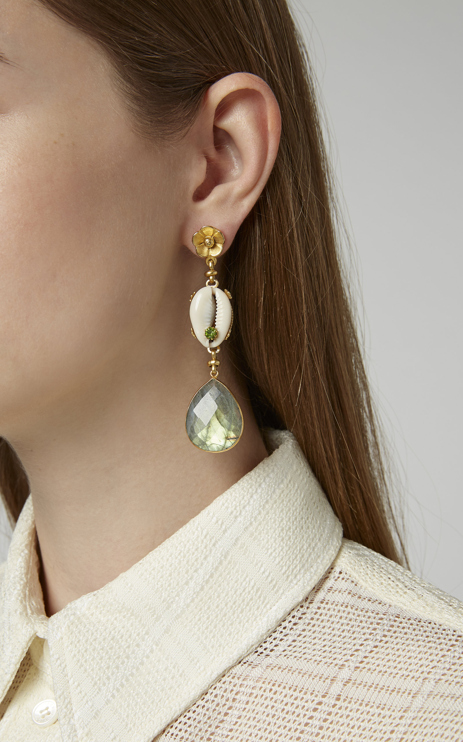 Eden 24K Gold-Plated Shell and Multi-Stone Earrings