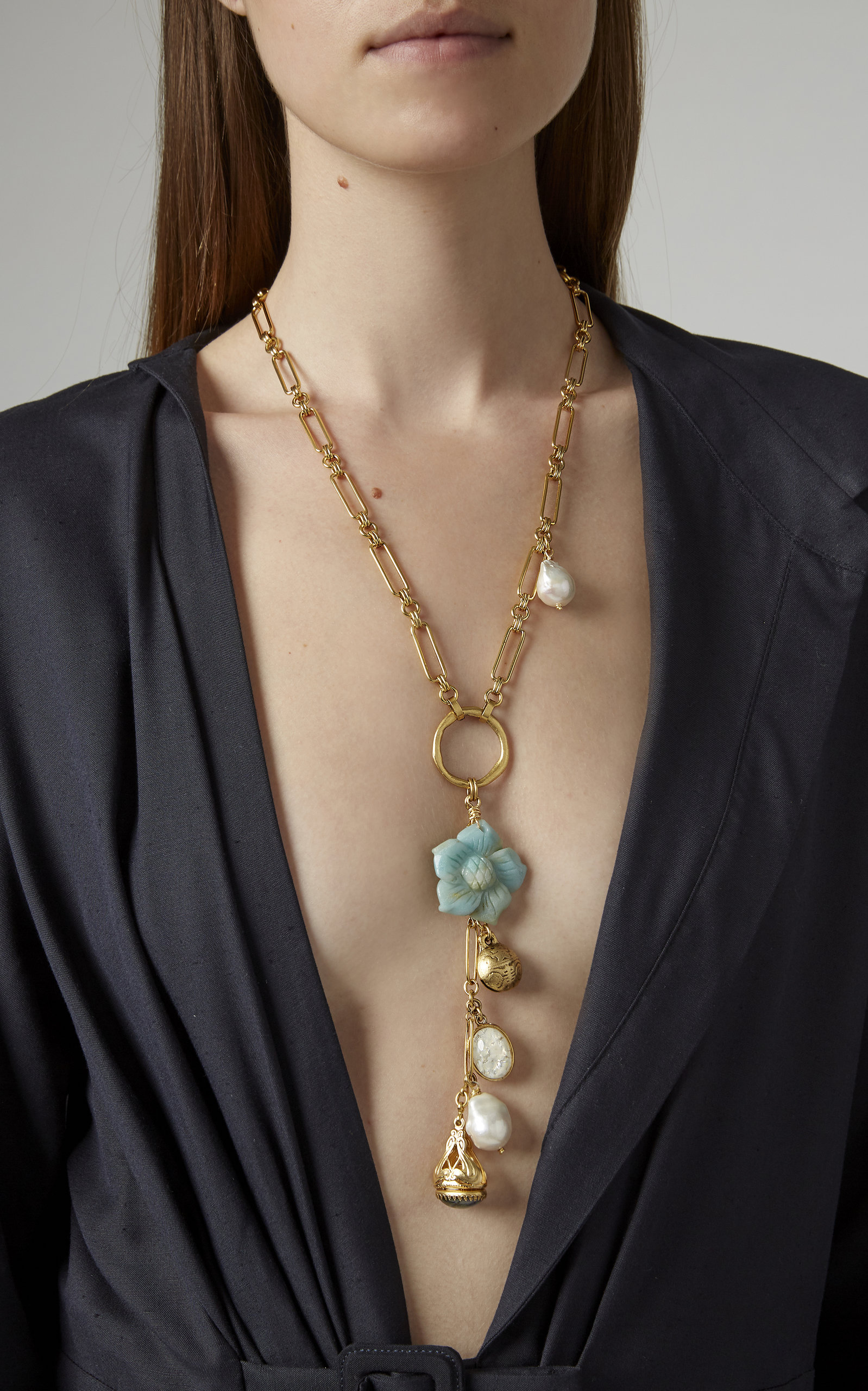 Jubilee 24K Gold-Plated Shell, Crystal and Pearl Necklace