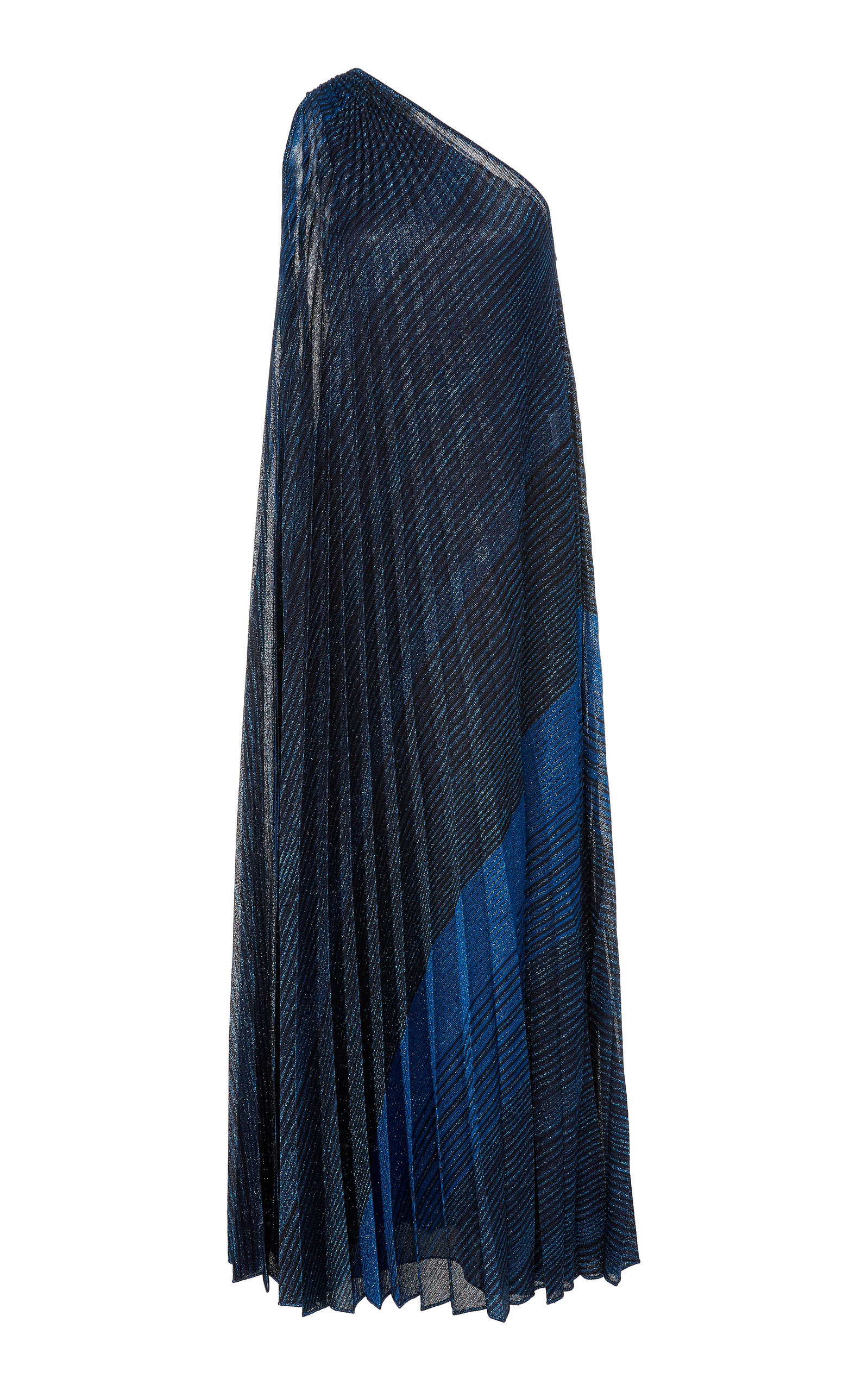 Missoni Dresses Metallic Striped Pleated One-Shoulder Gown