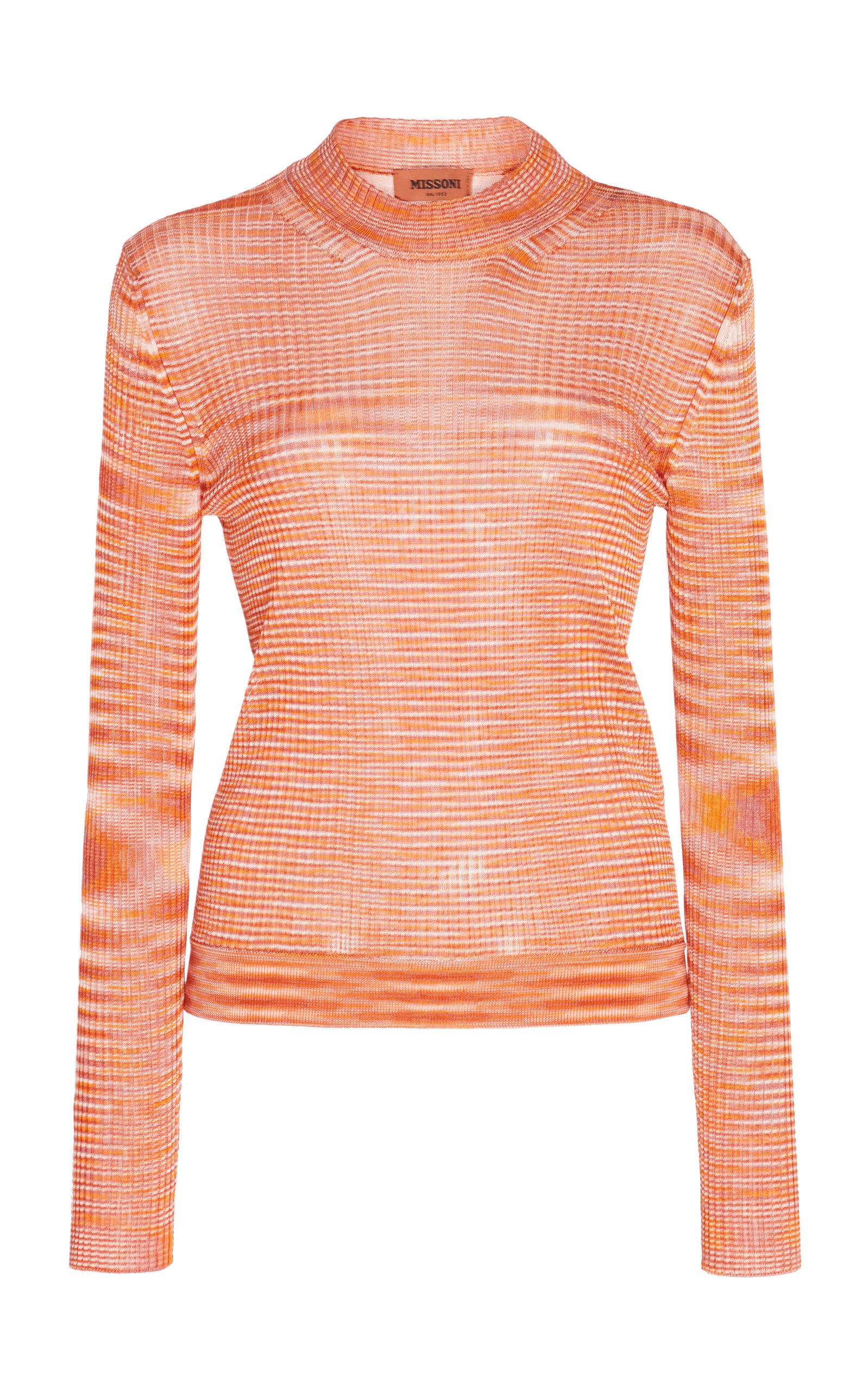 Missoni Knits Printed Ribbed-Knit Crewneck Sweater