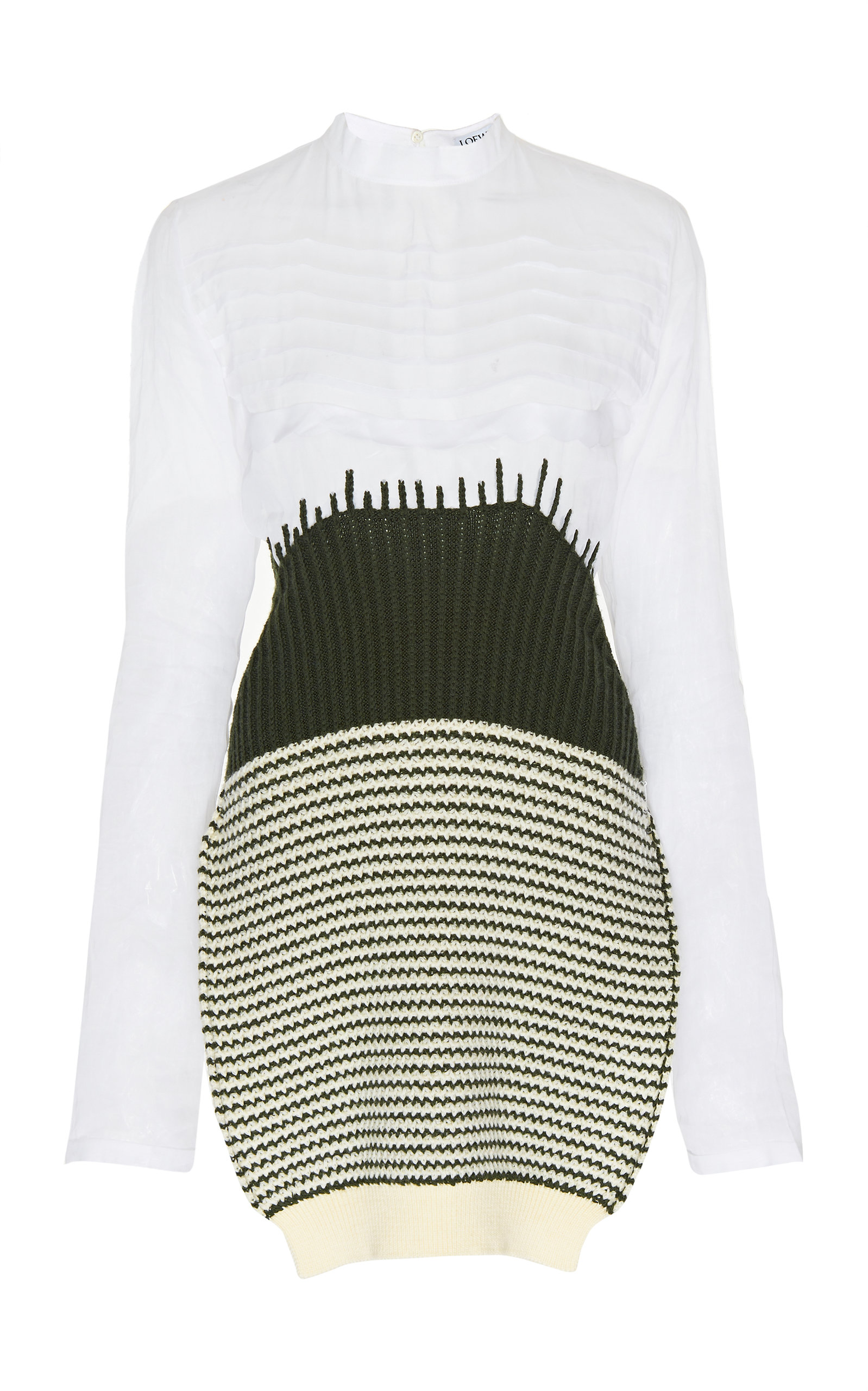 d05a359bf50 Sheer Cotton And Knit Wool Tunic Top by Loewe