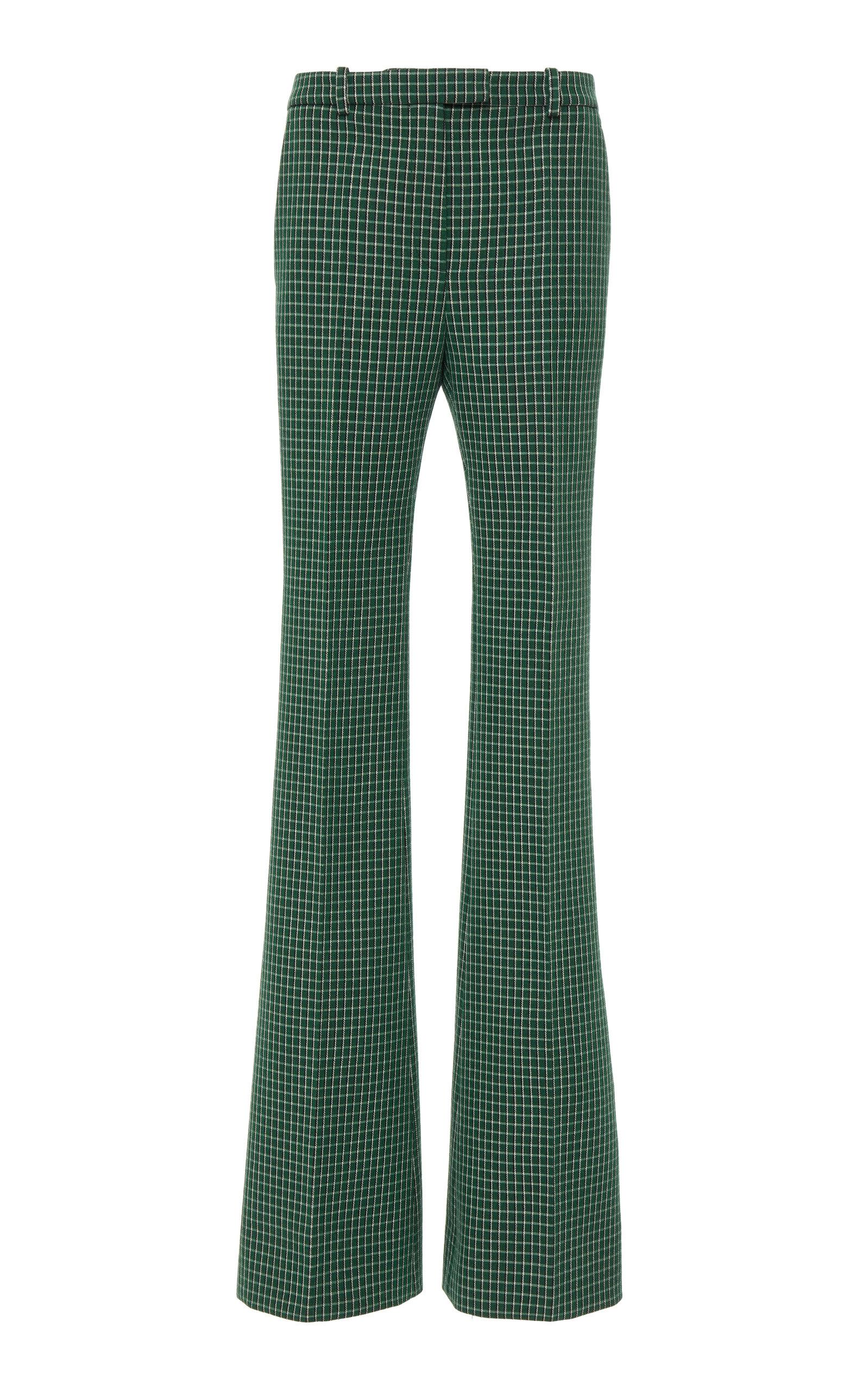 Givenchy Pants Checked Wool-Crepe Straight-Leg Pants