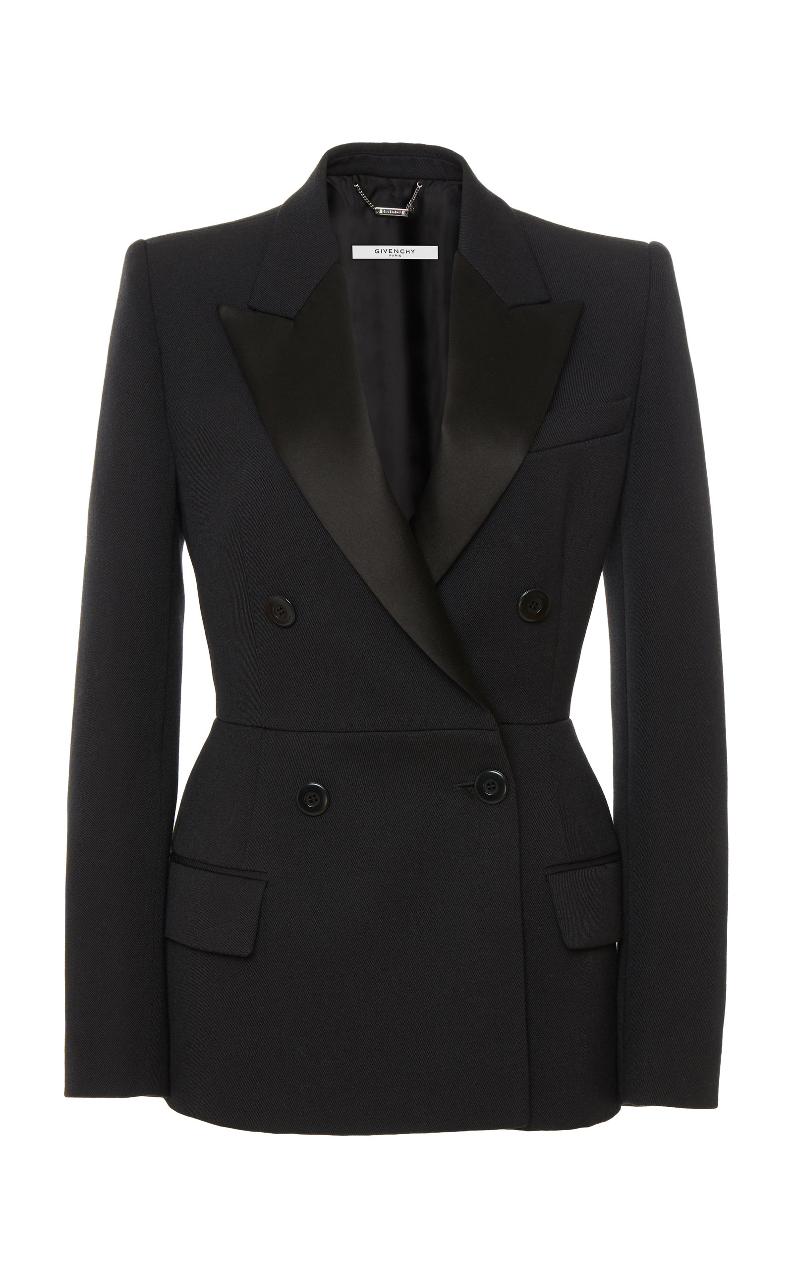 Givenchy  Satin-Trimmed Wool-Crepe Blazer