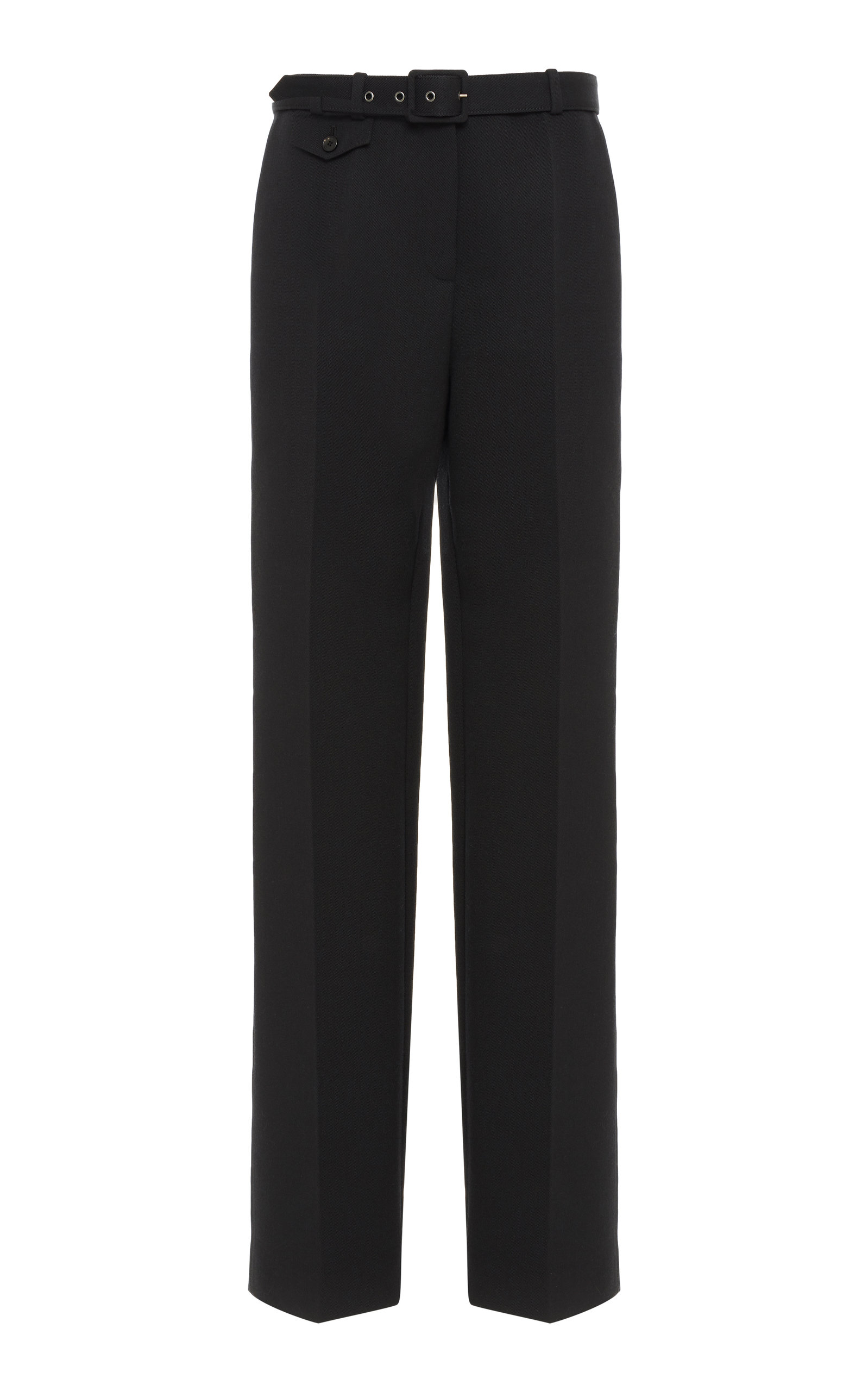 Givenchy Pants Belted Wool-Crepe Straight-Leg Pants