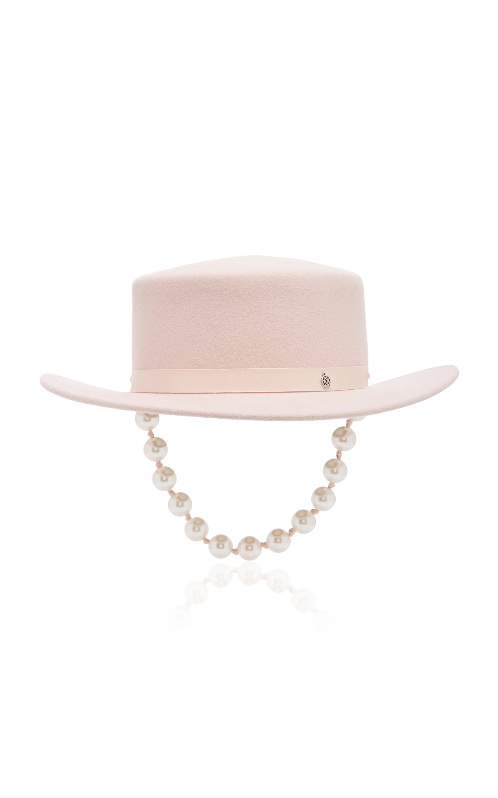 Maison Michel Hats Kiki Gangsta Pearl Embellished Felt Hat