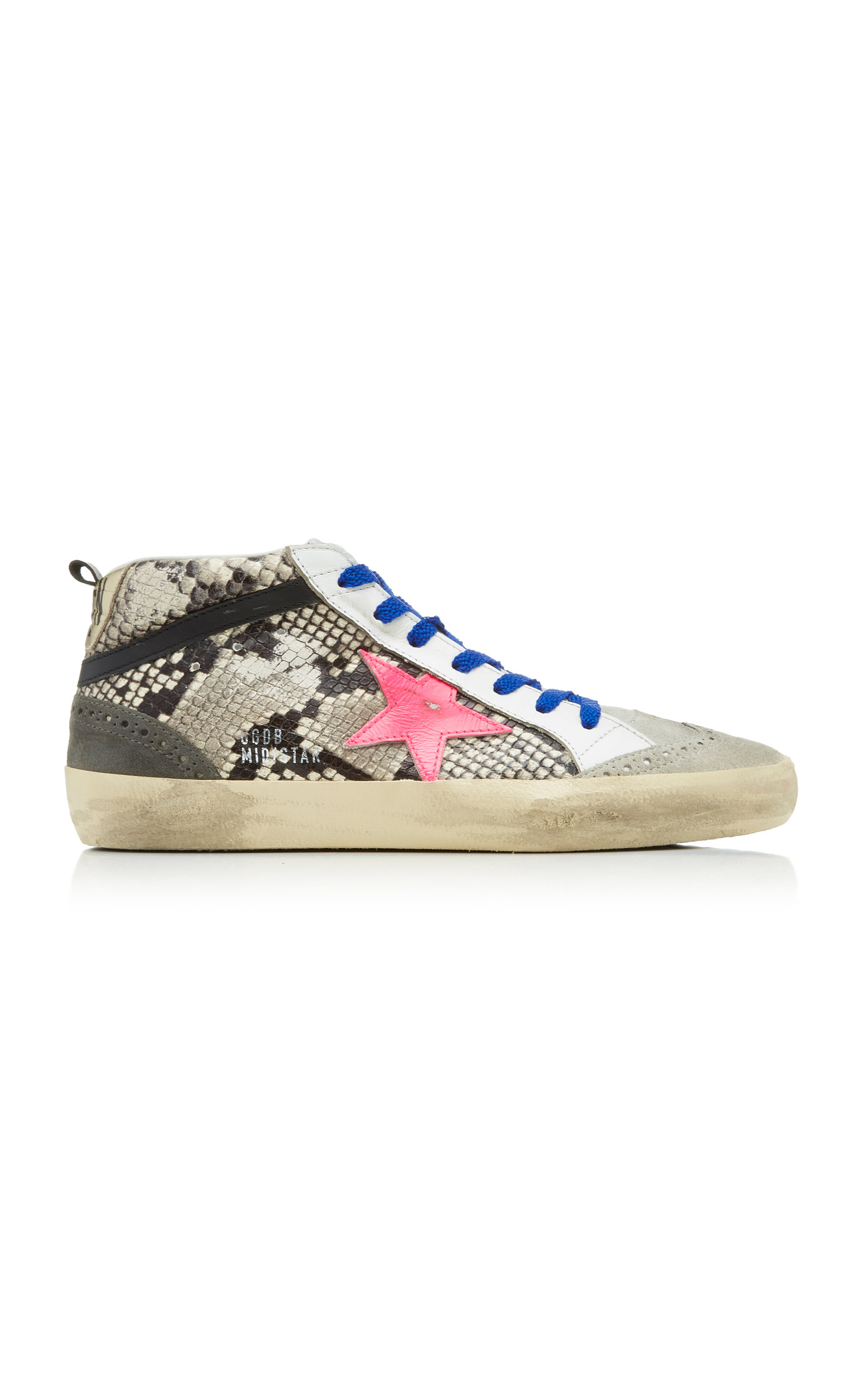 Golden Goose Sneakers Mid Star Distressed Snake-Effect Leather And Suede Sneakers