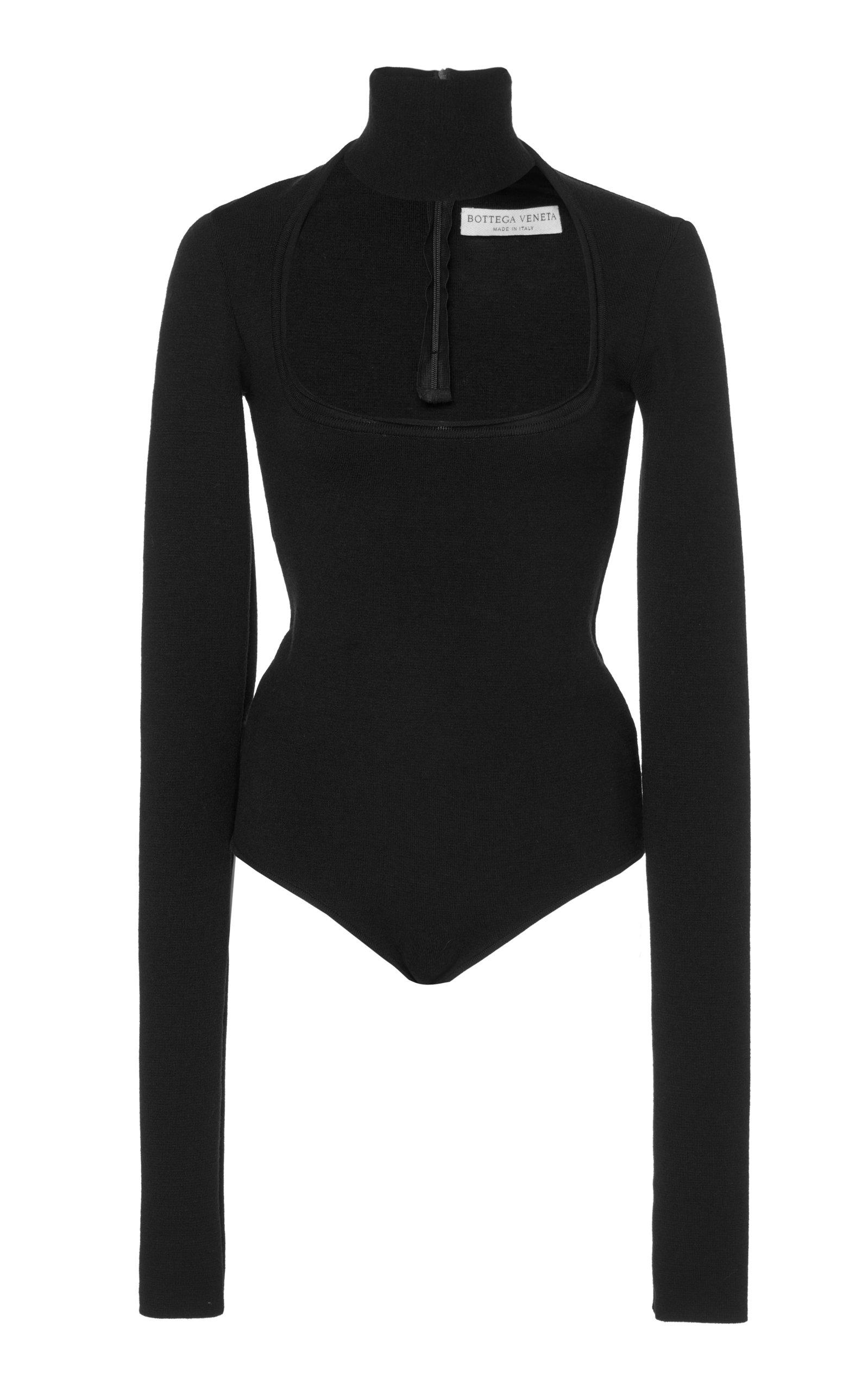 BOTTEGA VENETA Cutout Turtleneck Stretch-Wool Crepe Bodysuit