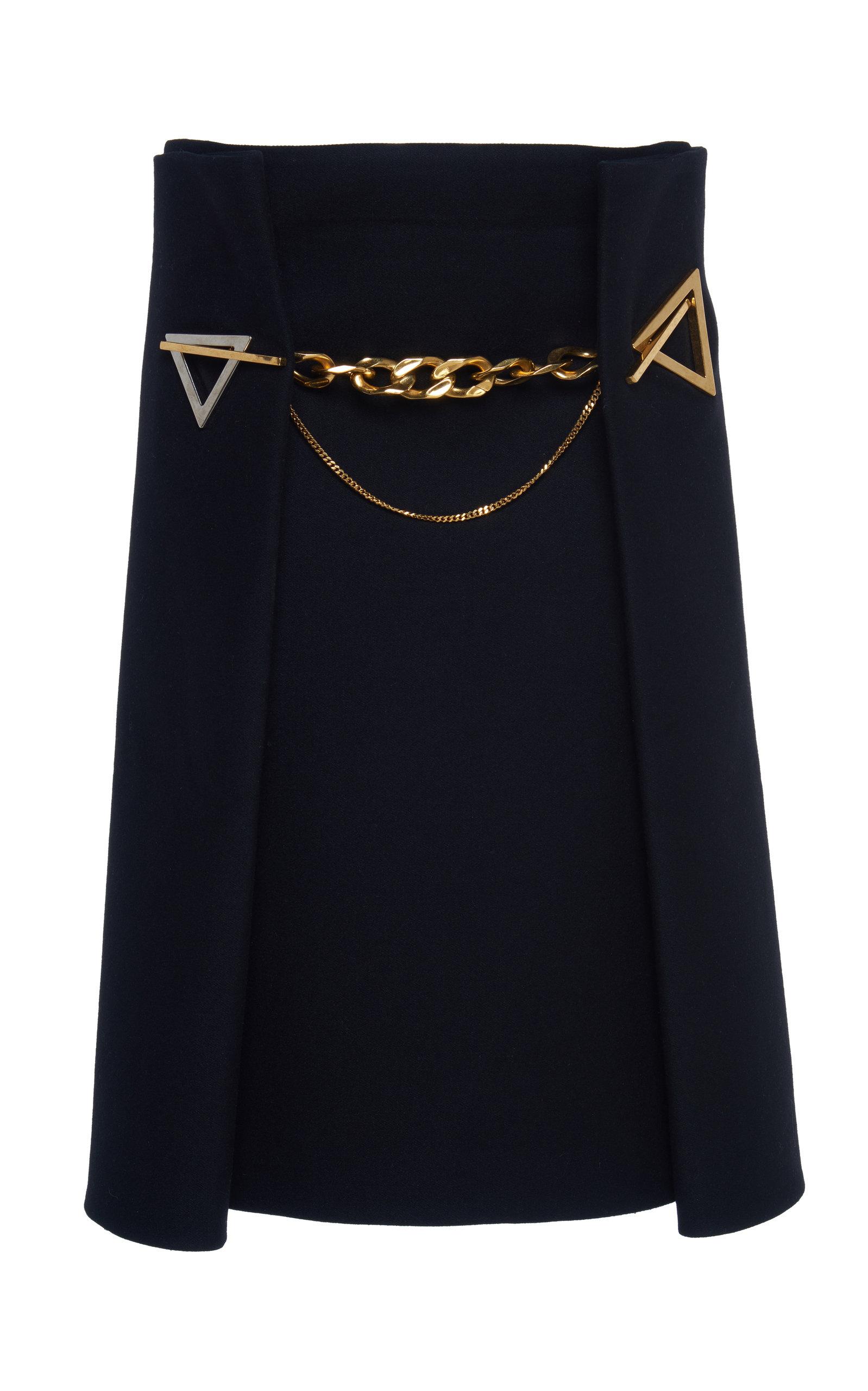 Bottega Veneta Skirts Chain-Embellished Cashmere-Twill Midi Skirt