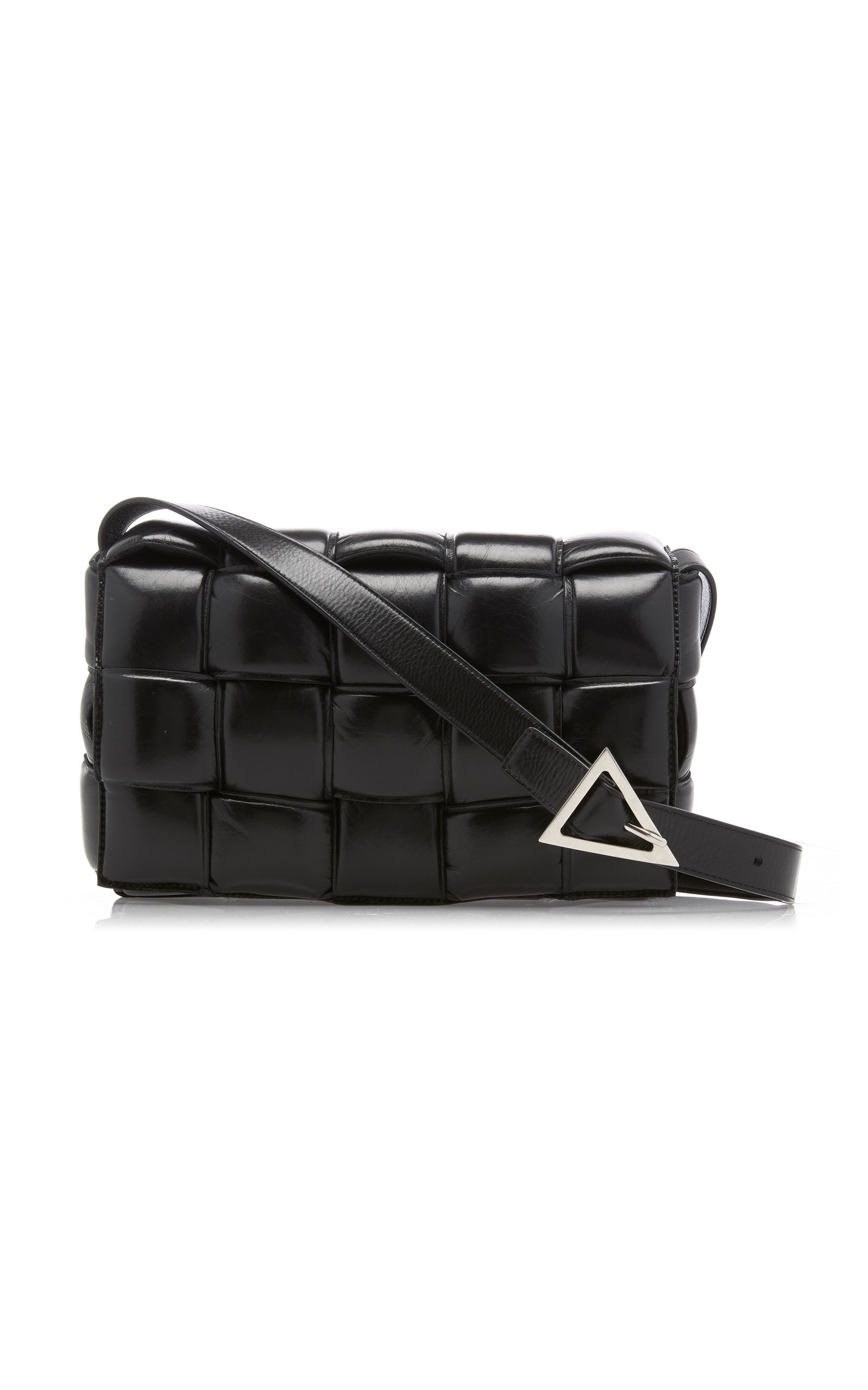 Intrecciato Patent Leather Shoulder Bag by Bottega Veneta