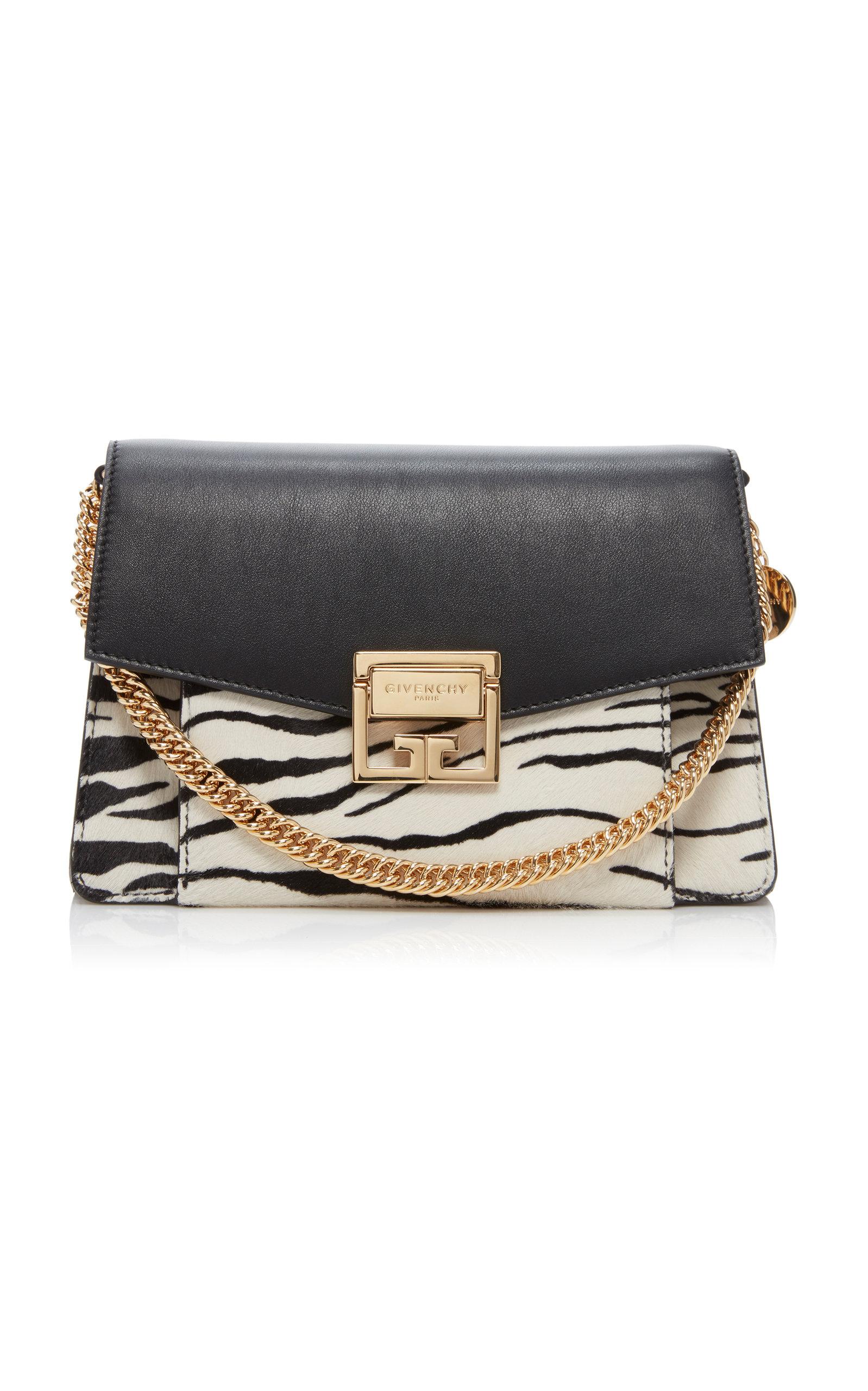 Givenchy Shoulder GV3 Small Leather and Zebra-Print Calf Hair Shoulder Bag