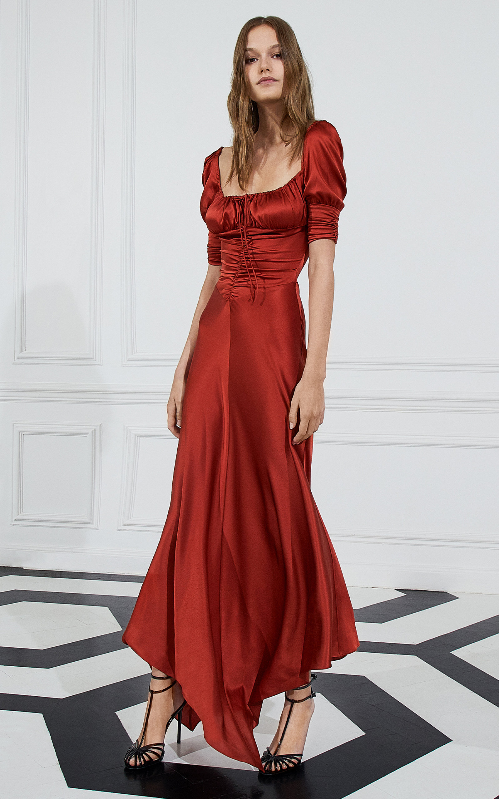 Alexis Dresses Noerene Ruched Tie-Front Silk Maxi Dress