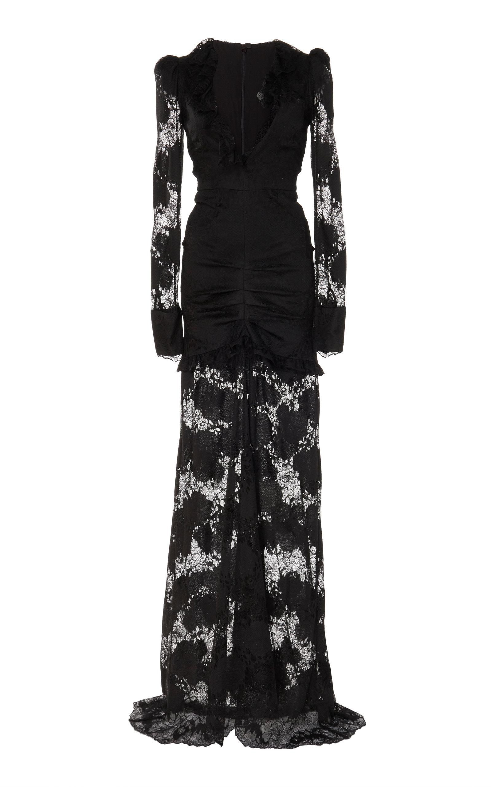 Alexis Dresses Lucasta Lace-Detailed Deep-V Maxi Dress