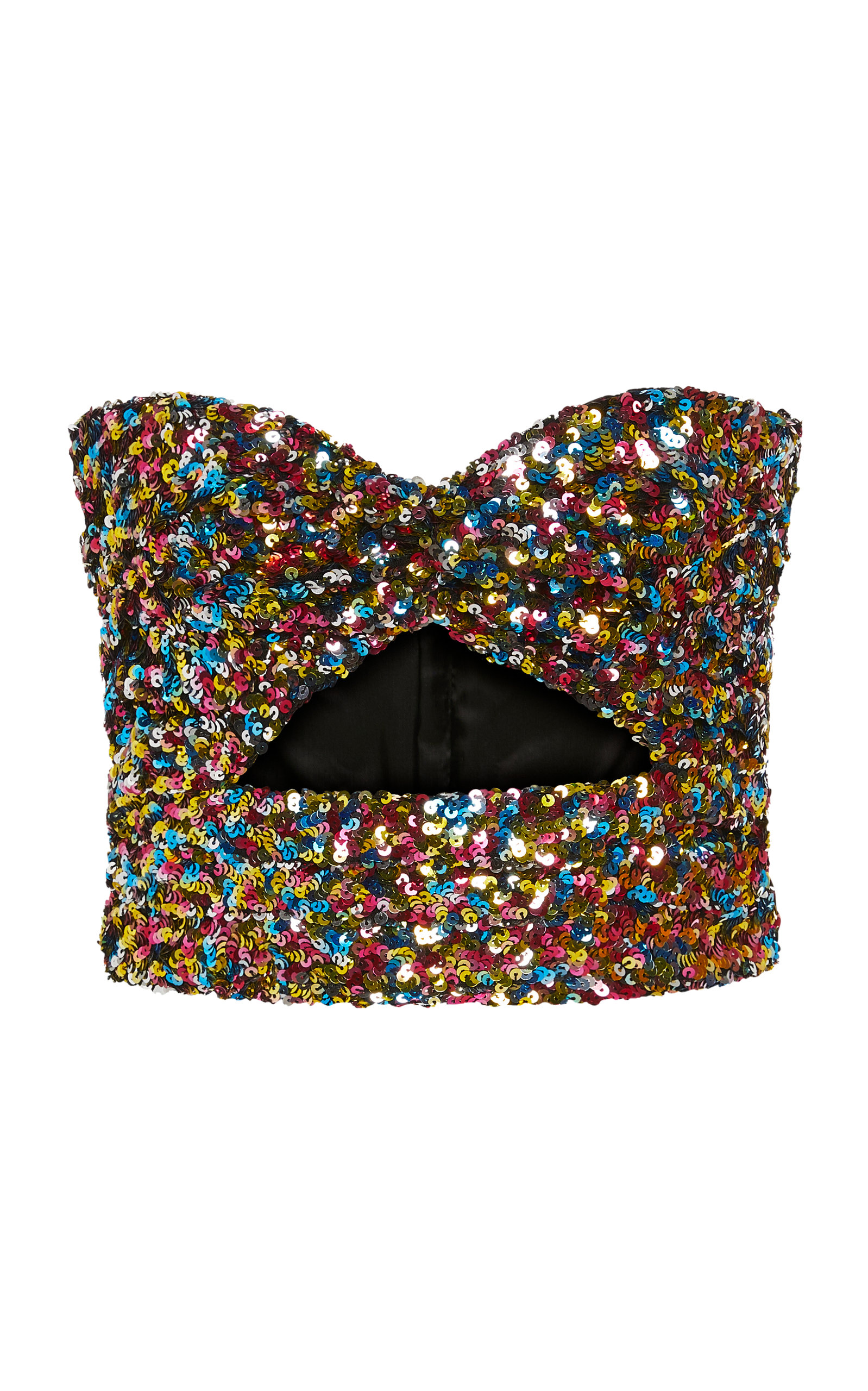Attico Tops Sequin-Embroidered Cutout Bustier Top