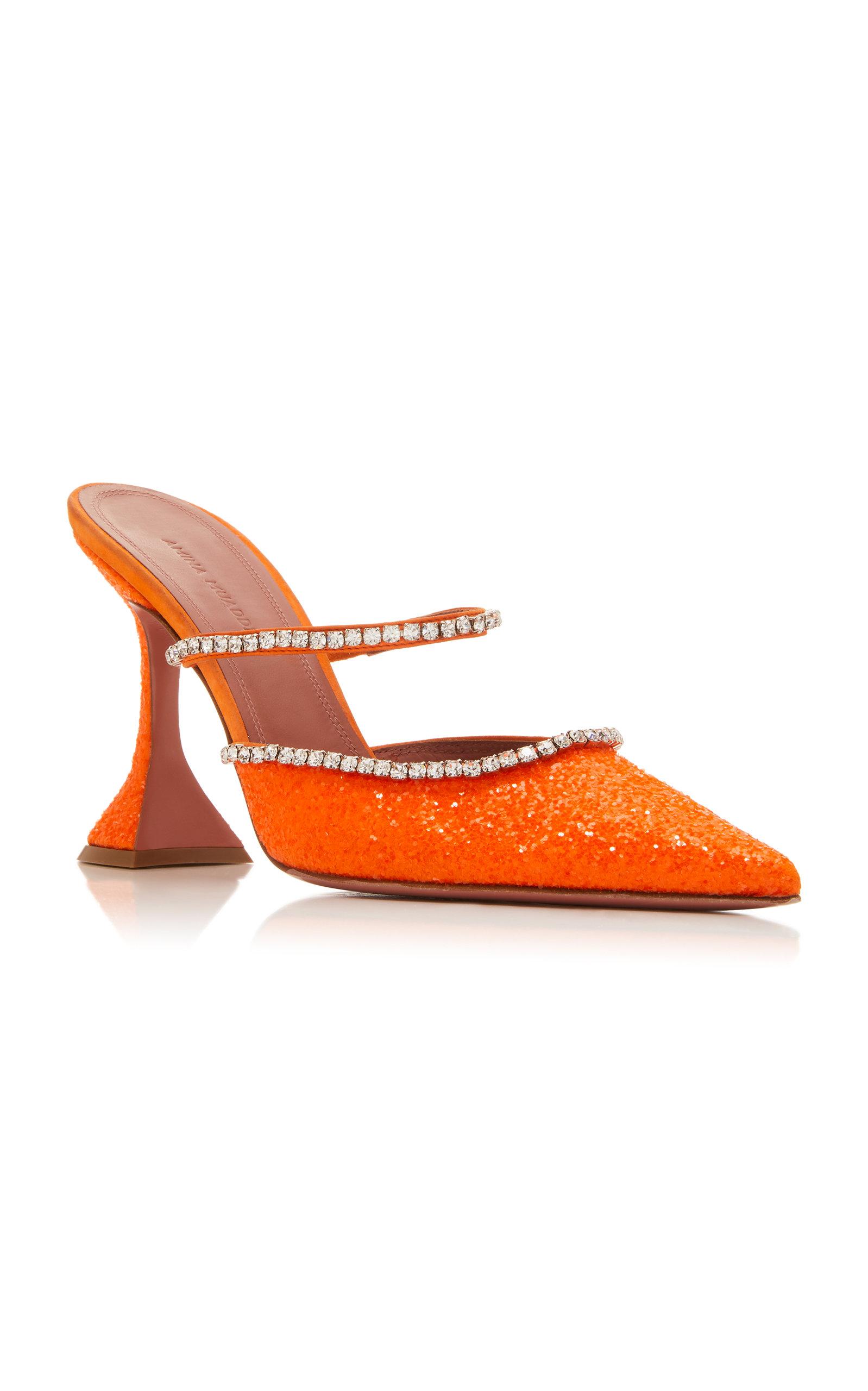 Amina Muaddi Mules Gilda Crystal-Embellished Leather Mules