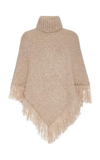 Matta HERMOSA FRINGED WOOL-BLEND TURTLENECK PONCHO