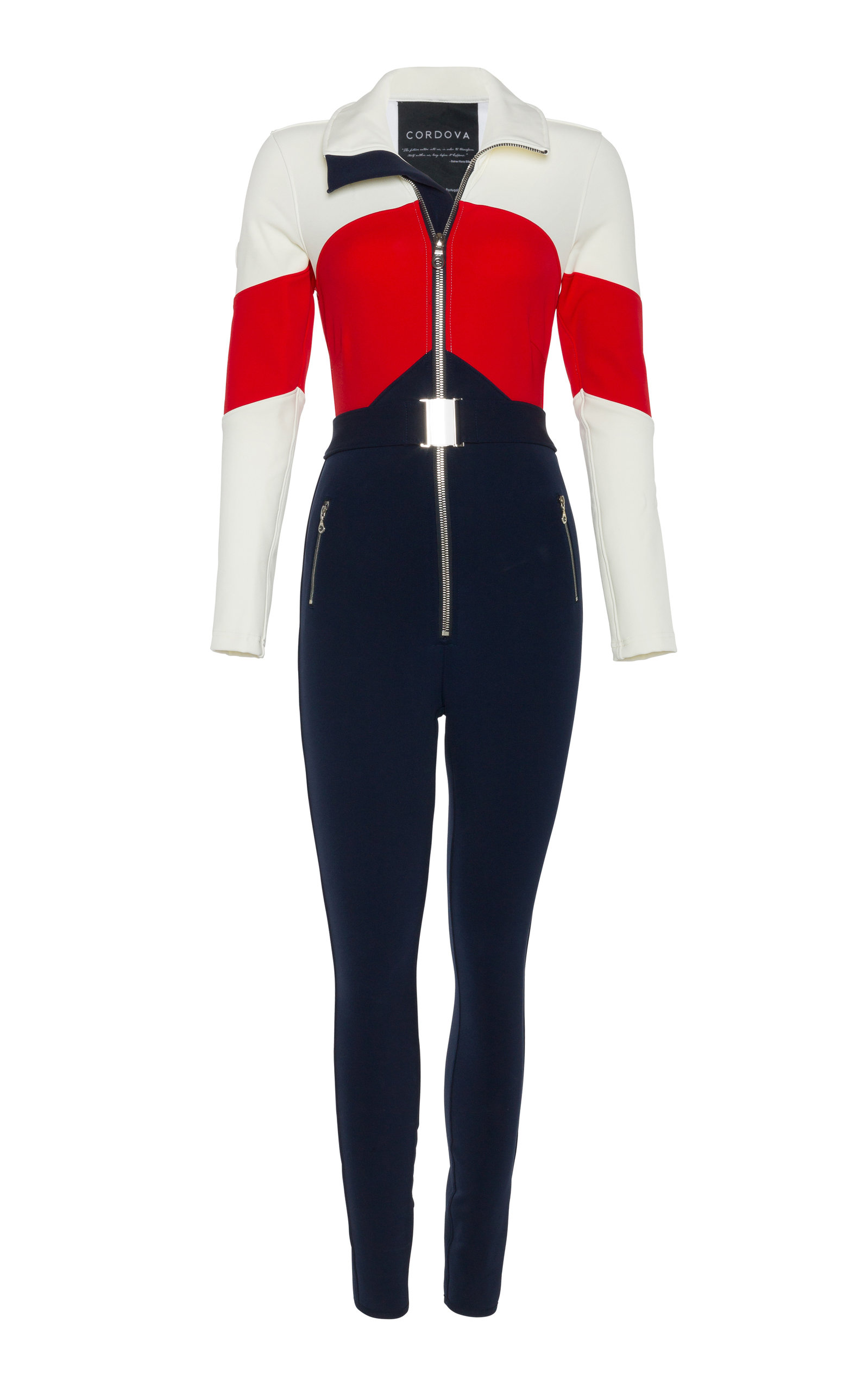 Cordova THE ALTA BELTED STRIPED STRETCH-SHELL SKI SUIT
