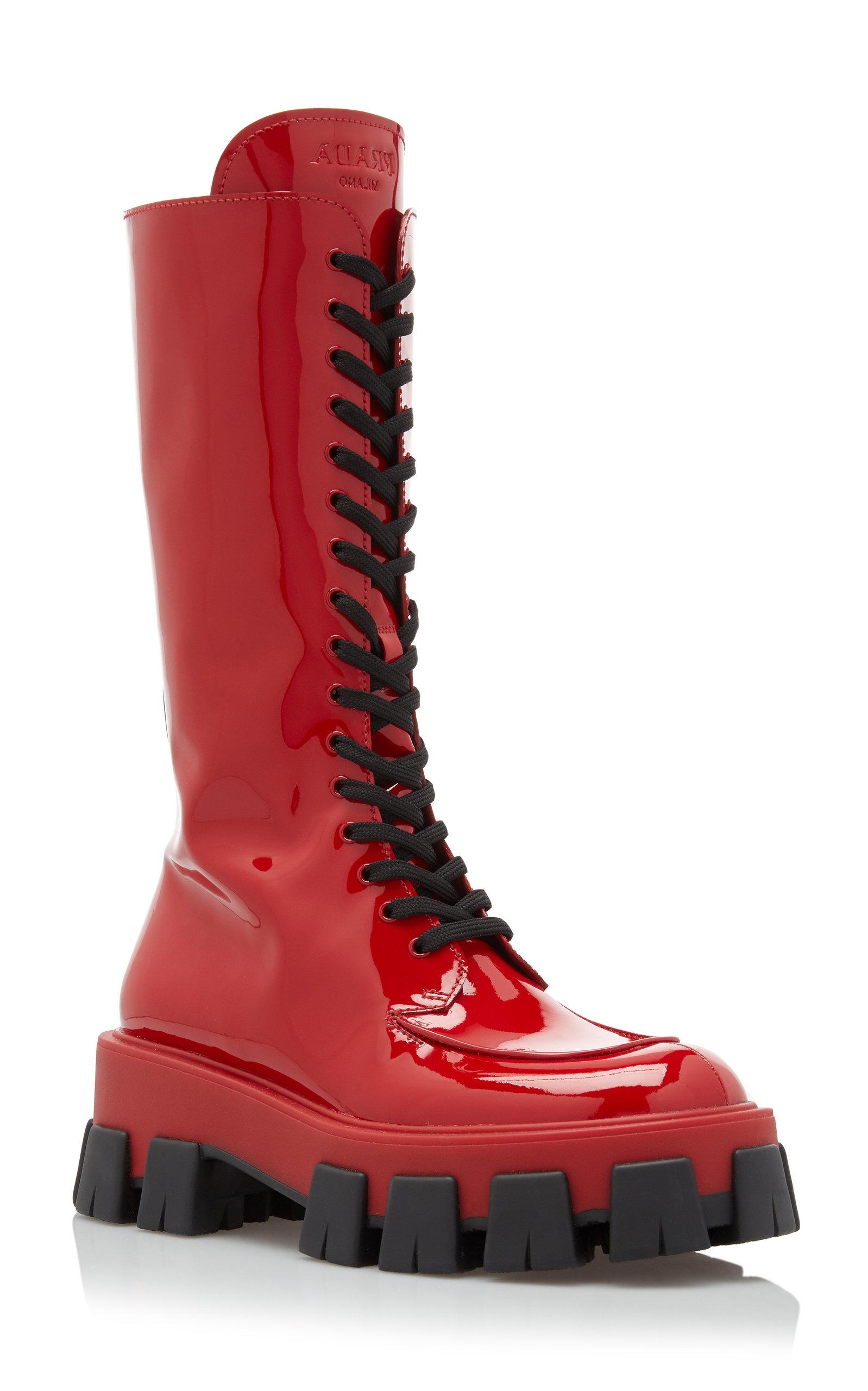 Leather Combat Boots By Prada | Moda